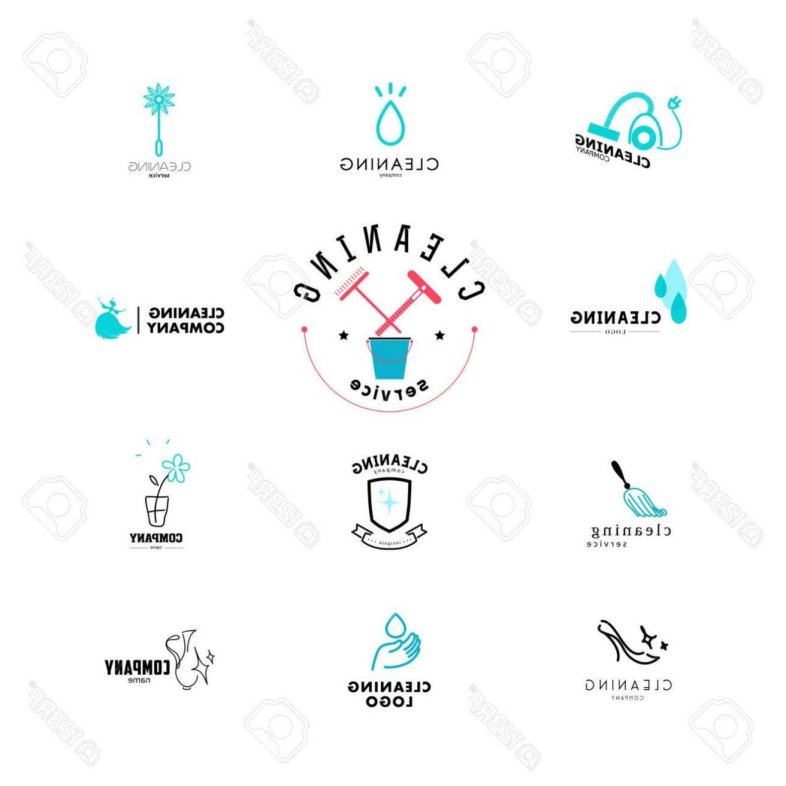 Cleaning Logo Vector Art: Photovector Collection Of Flat Logo For Cleaning Company Clearing Service Insignia Cleaning Industry Flat