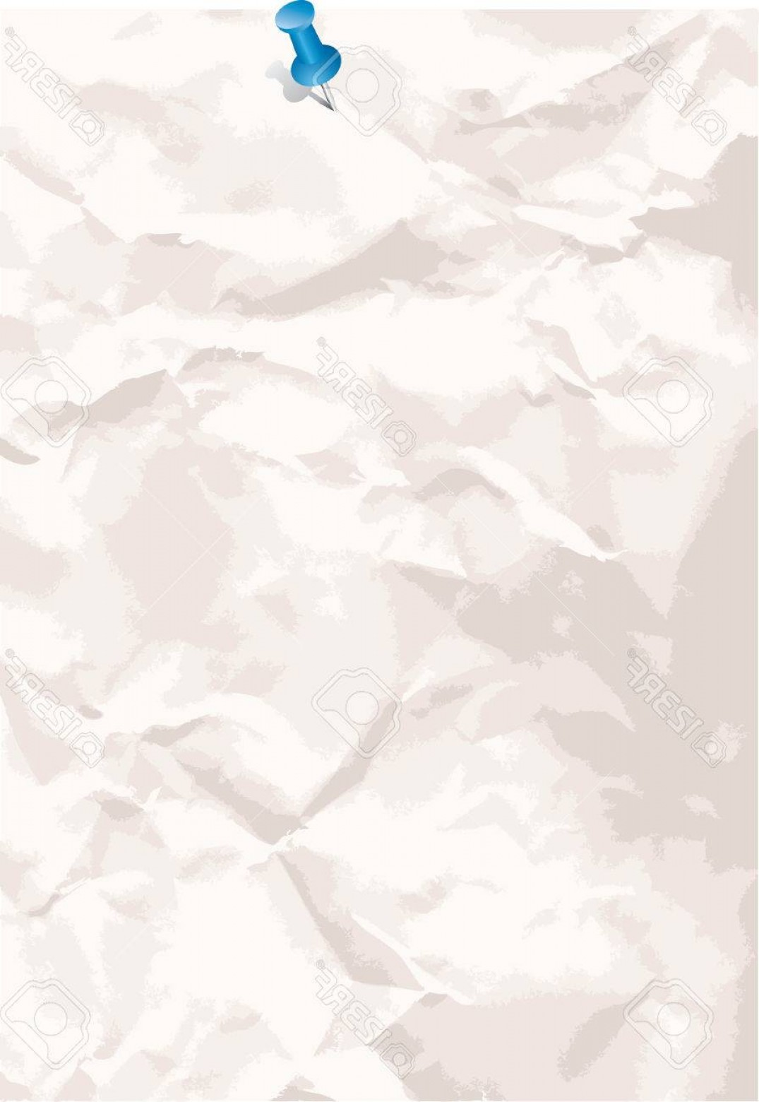 Crinkled Paper Vector: Photovector Crumpled Paper Background With Pin