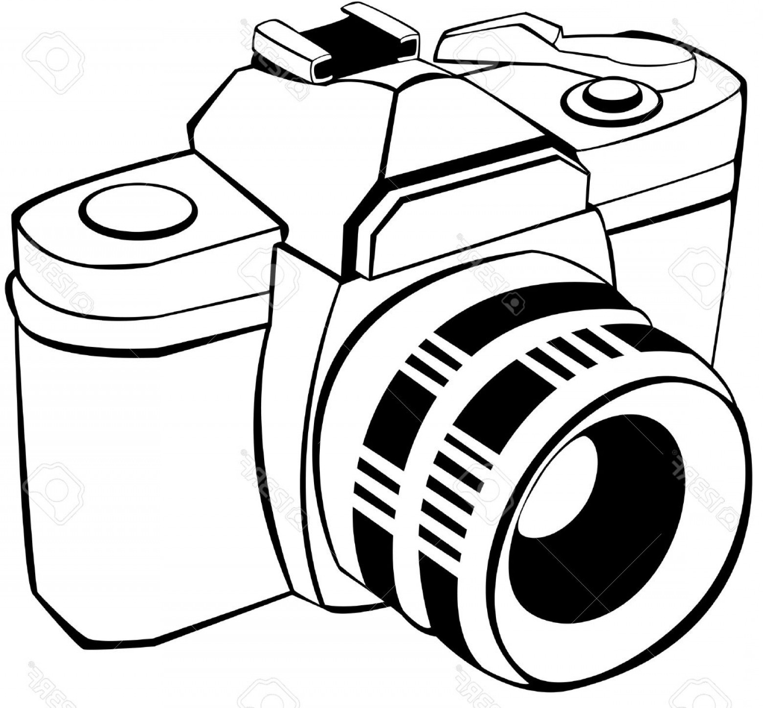SLR Camera Vector: Photovector Draw Of An Analogic Reflex