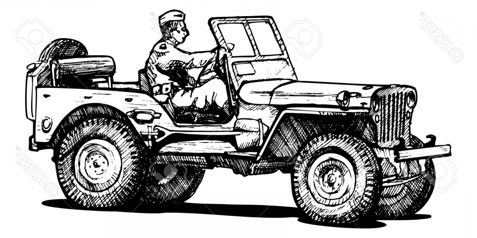 Jeep Tire Vector: Photovector Drawing Of Army Jeep Stylized As Engraving