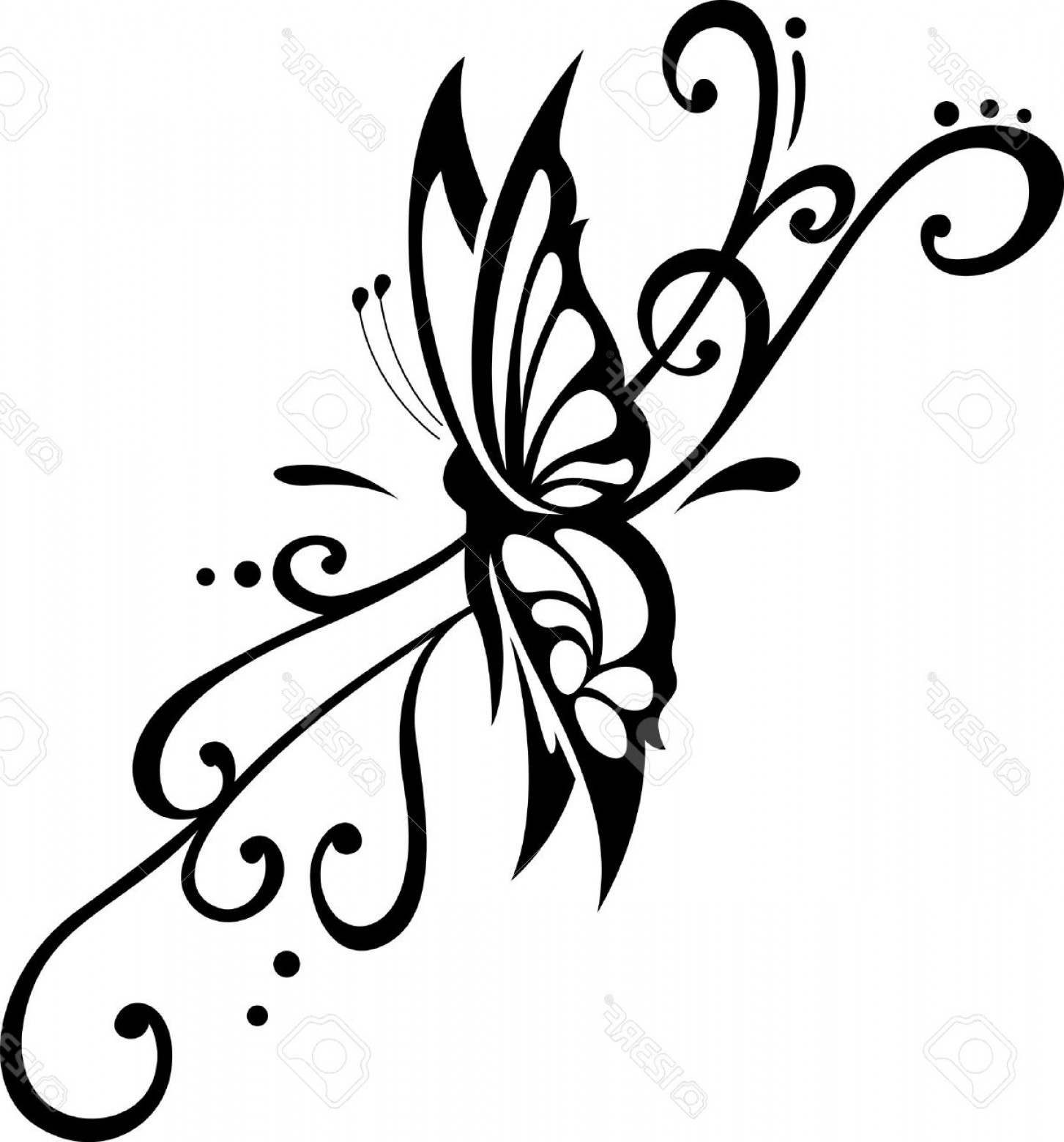 Mariposa Vector: Photovector Floral Ornament With Butterfly Element For Design