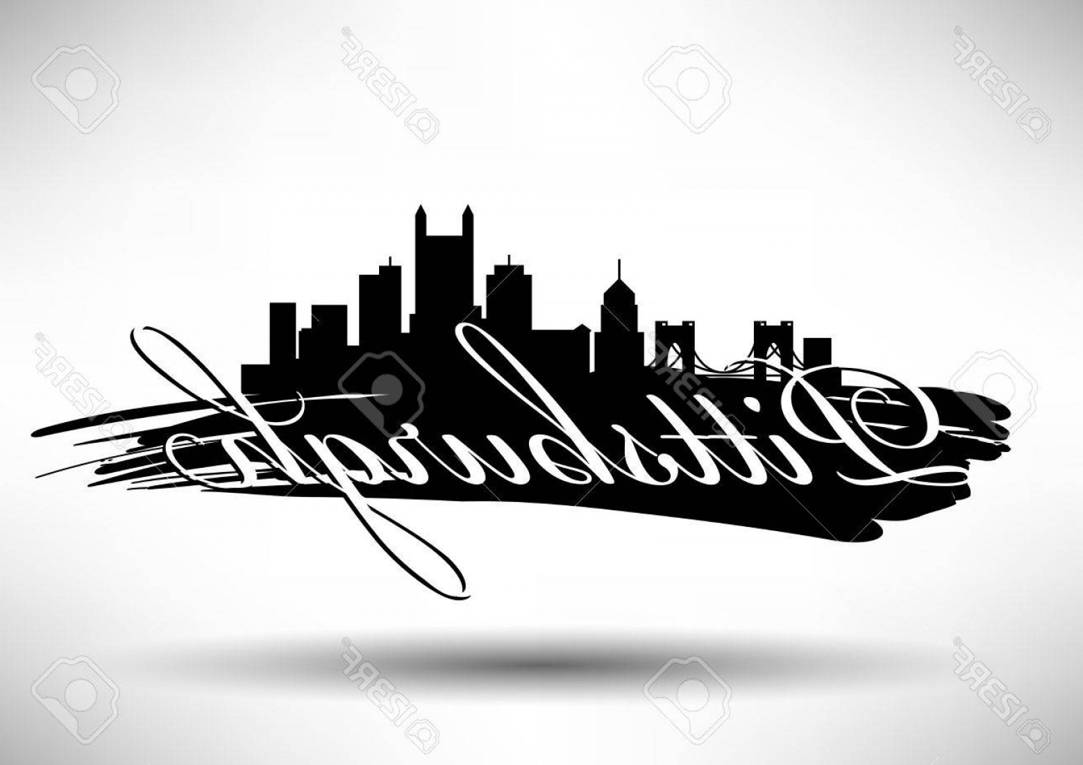 Pittsburgh City Skyline Vector: Photovector Graphic Design Of Pittsburgh City Skyline