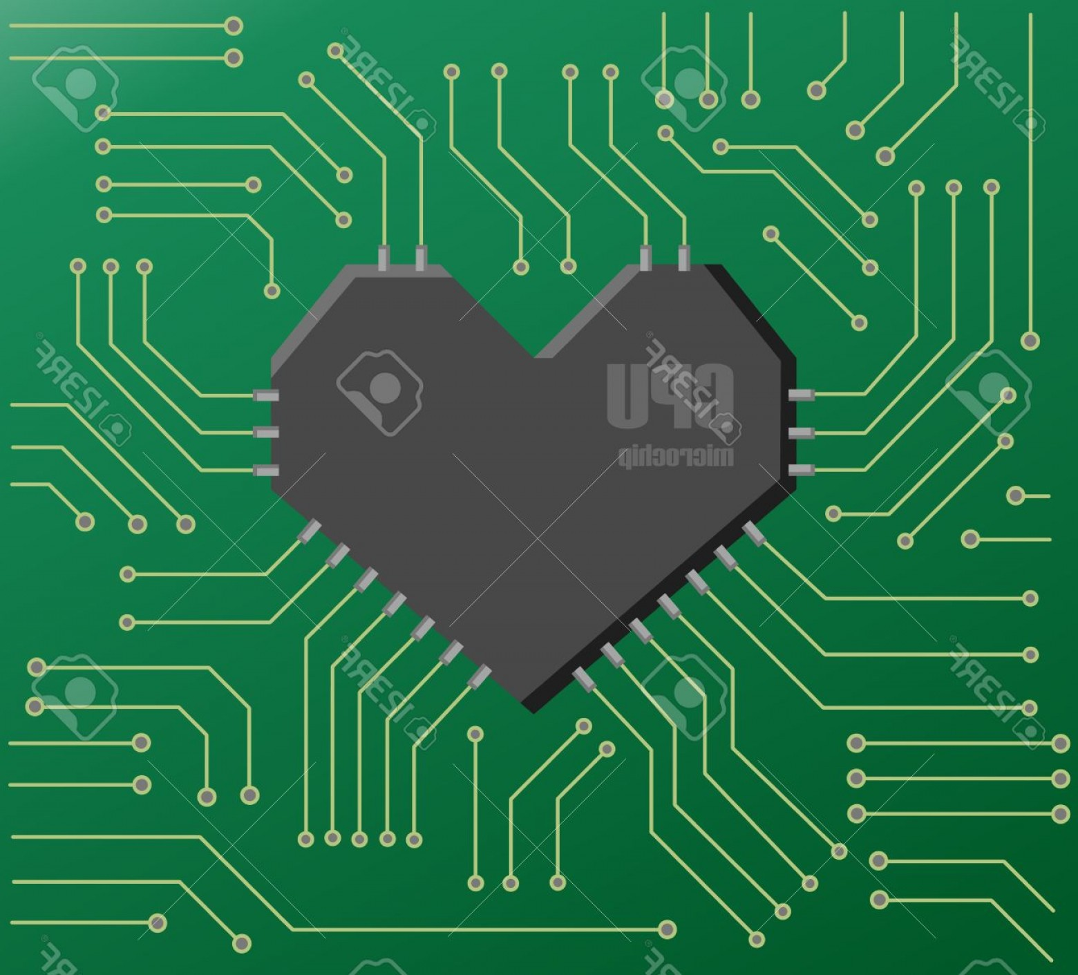 Motherboard Vector With A Heart: Photovector Green Motherboard With A Heart Shape Cpu