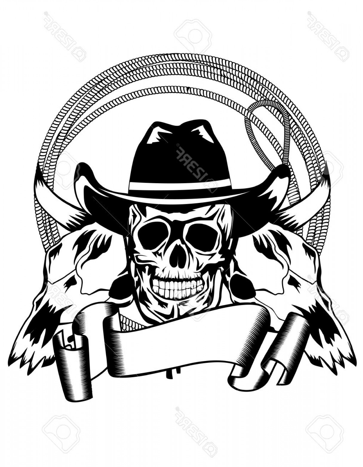 Cowboys Line Drawings Vector: Photovector Illustration Cowboy And Skull Bull