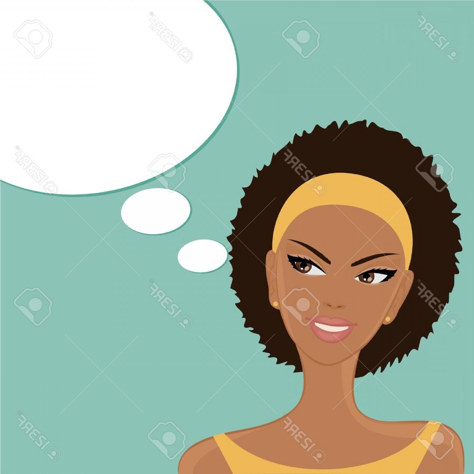 Lady Face Layers Vector: Photovector Illustration Of A Beautiful Smiling Afro American Girl With A Blank Thought Speech Bubble On