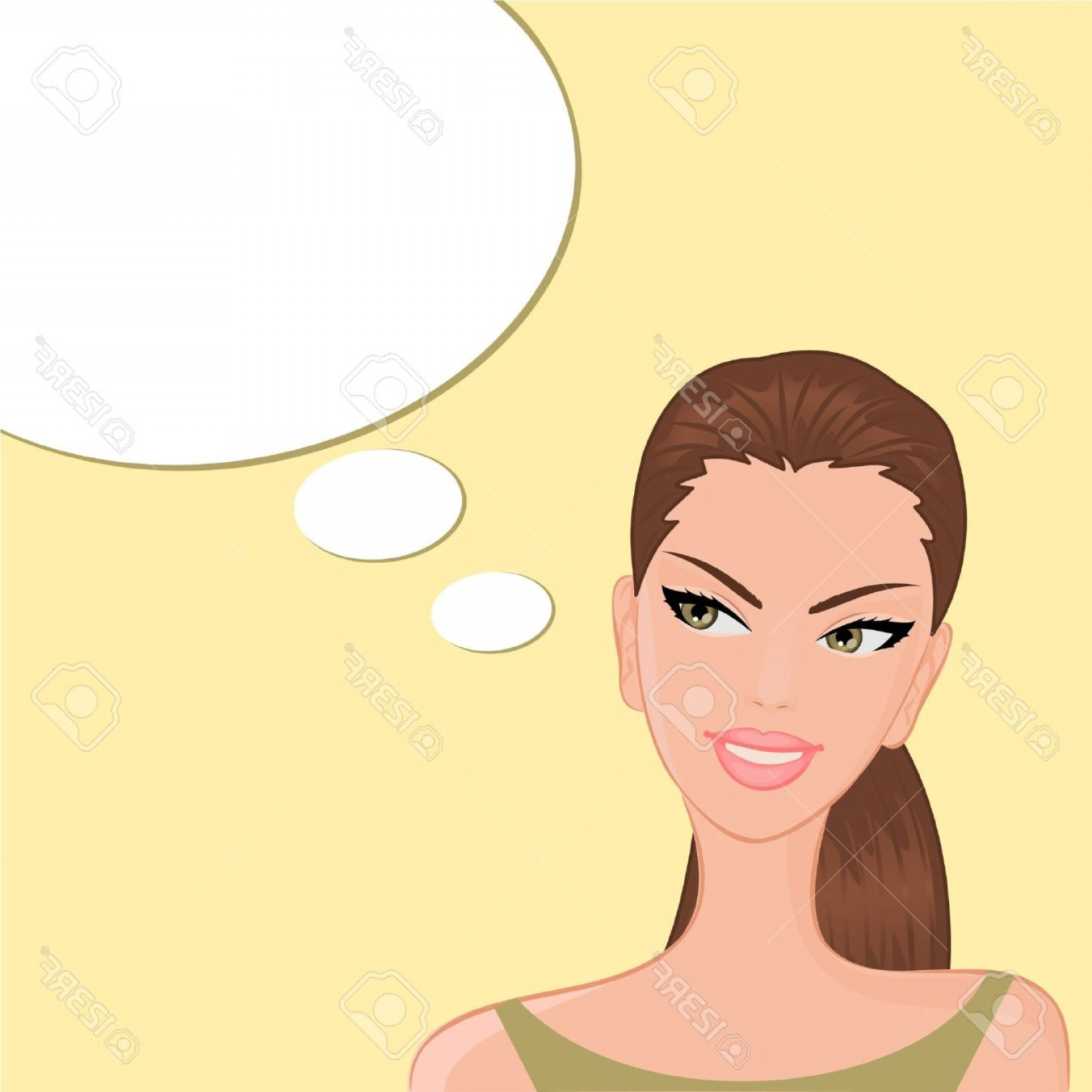 Lady Face Layers Vector: Photovector Illustration Of A Beautiful Smiling Girl With A Blank Thought Speech Bubble On Yellow Backgro
