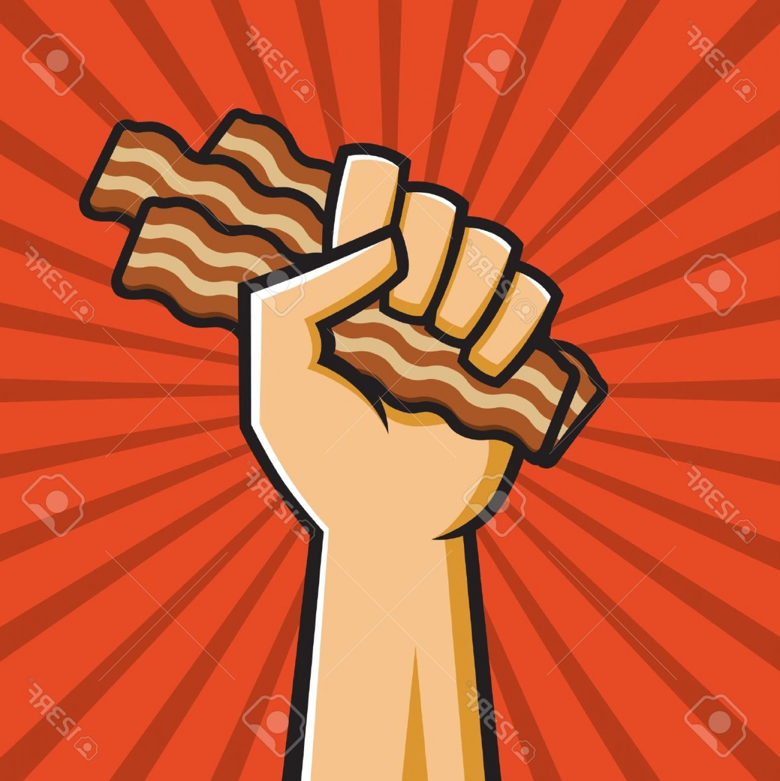 Propaganda Art Poster Vector: Photovector Illustration Of A Fist Holding Bacon In The Style Of Russian Constructivist Propaganda Poster