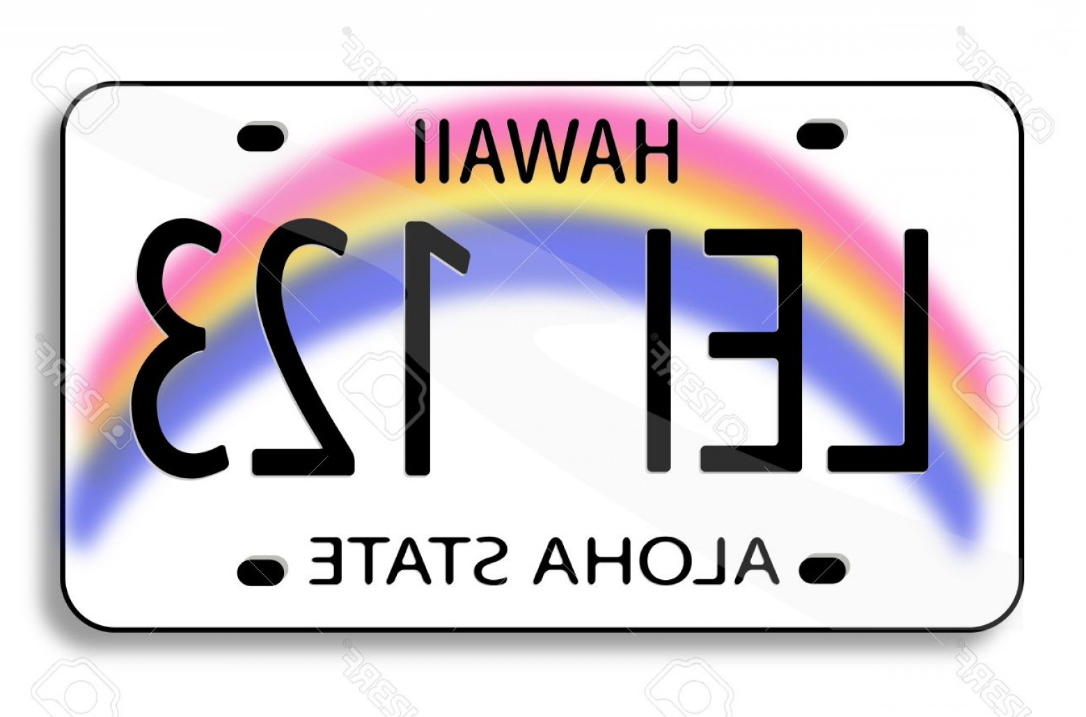 Florida License Plate Vector Art: Photovector Illustration Of A License Plate From Hawaii