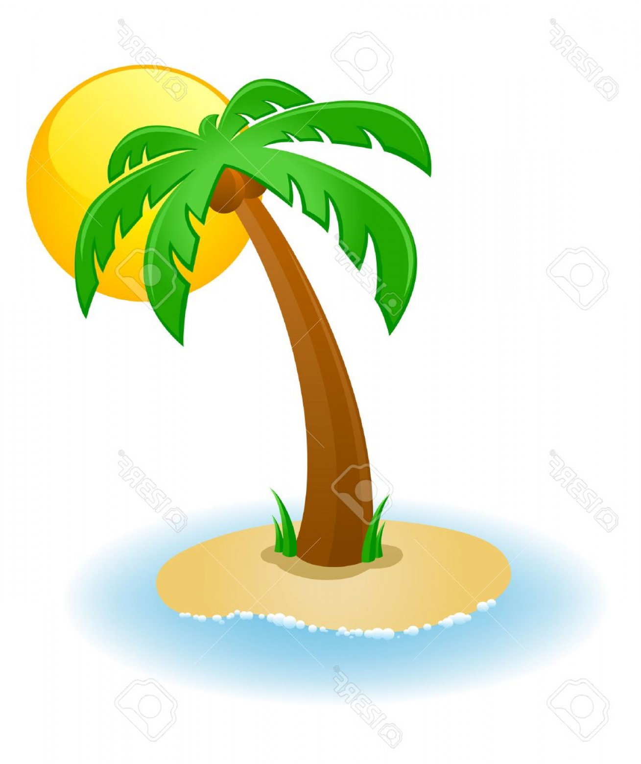 Palm Tree Clip Art Vector: Photovector Illustration Of A Palm Tree On A Small Island