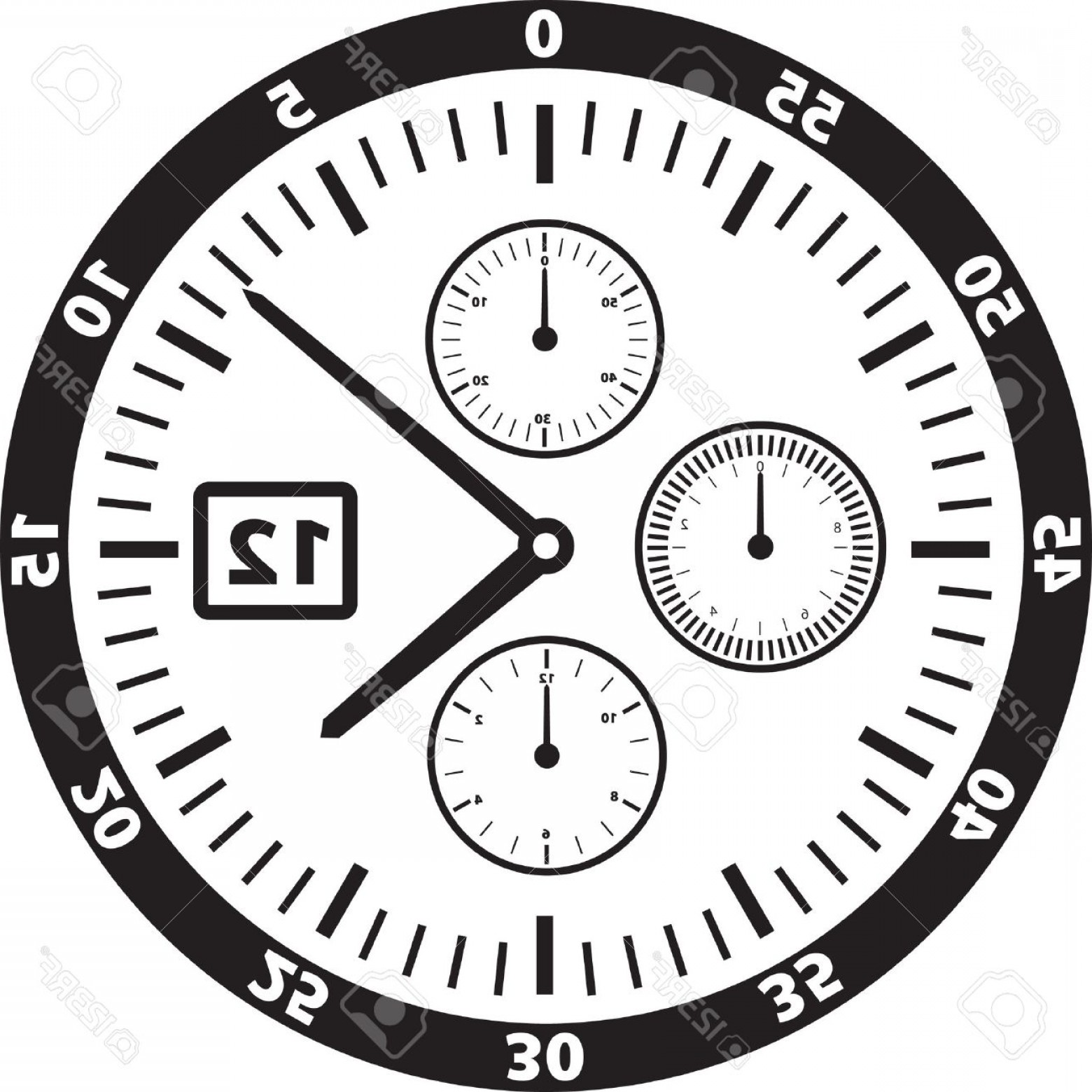 Watch Face Vector: Photovector Illustration Of A Watch Or Clock Face