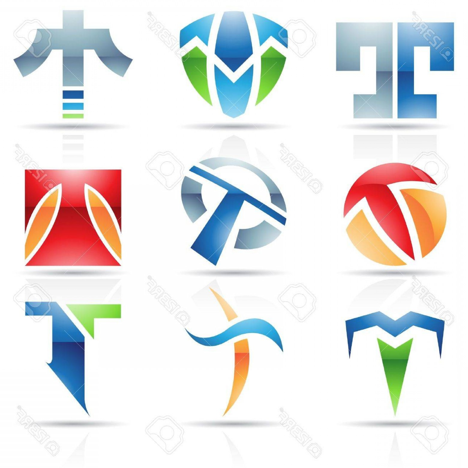 T Vector: Photovector Illustration Of Abstract Icons Based On The Letter T
