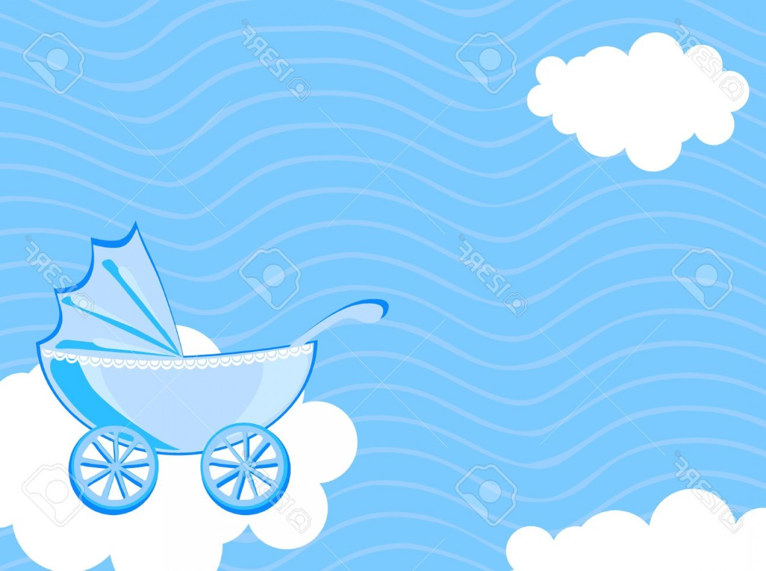 Clouds Backgrounds Vector: Photovector Illustration Of Baby Carriage On The Background Of Cloudy Sky
