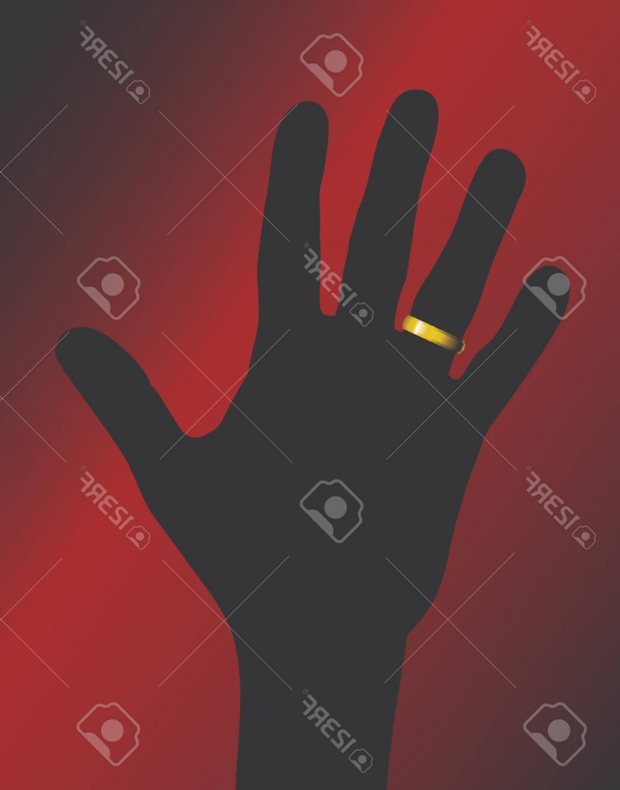 Hand With Ring Silhouette Vector: Photovector Illustration Of Gold Ring On Hand Silhouette