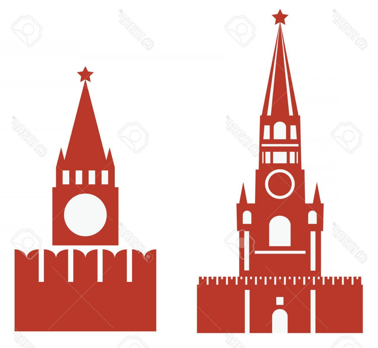 Kaya Vector: Photovector Illustration Of Two Variations Of Spasskaya Tower And Req Square