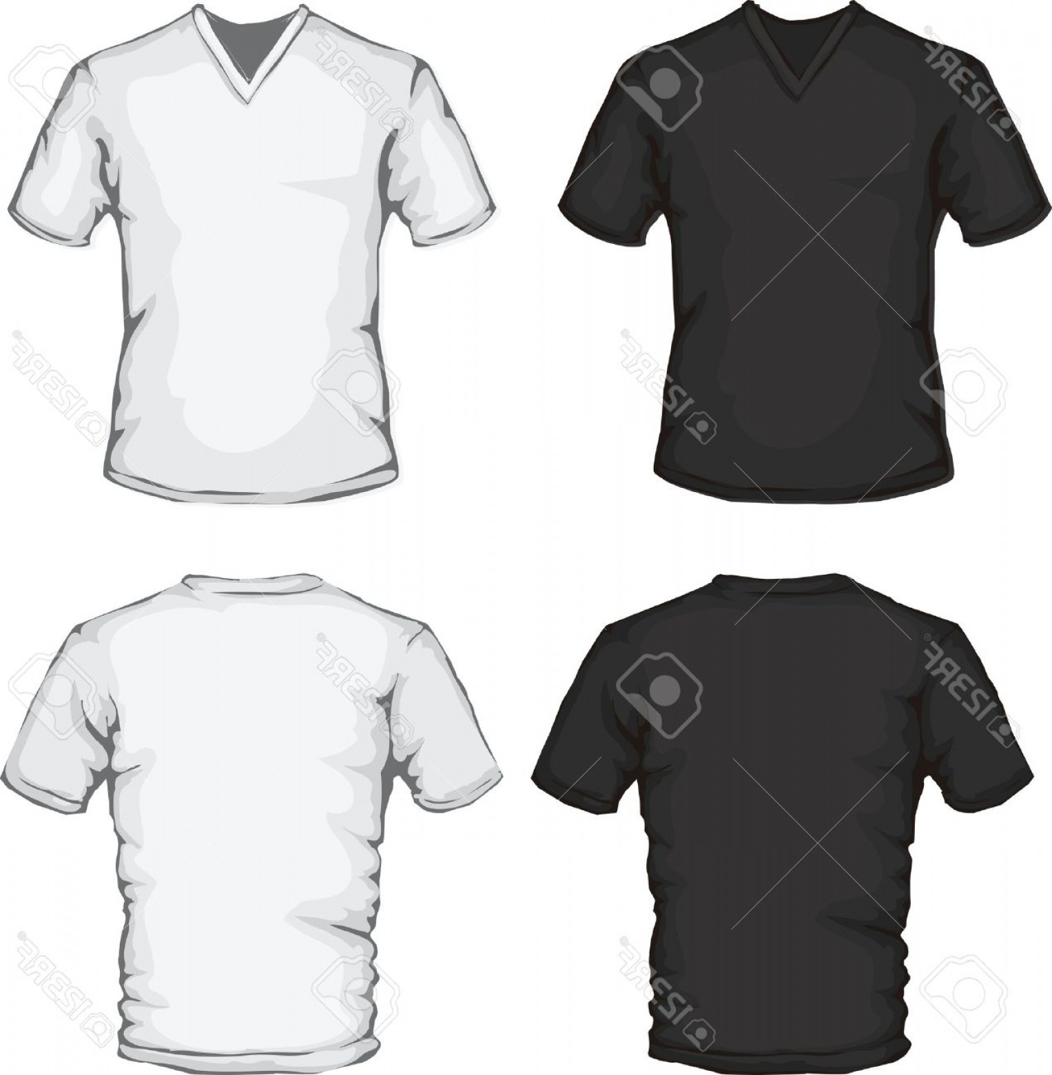 V-Neck Template Vector: Photovector Illustration Of V Neck Shirt Template In Black And White Front And Back Design