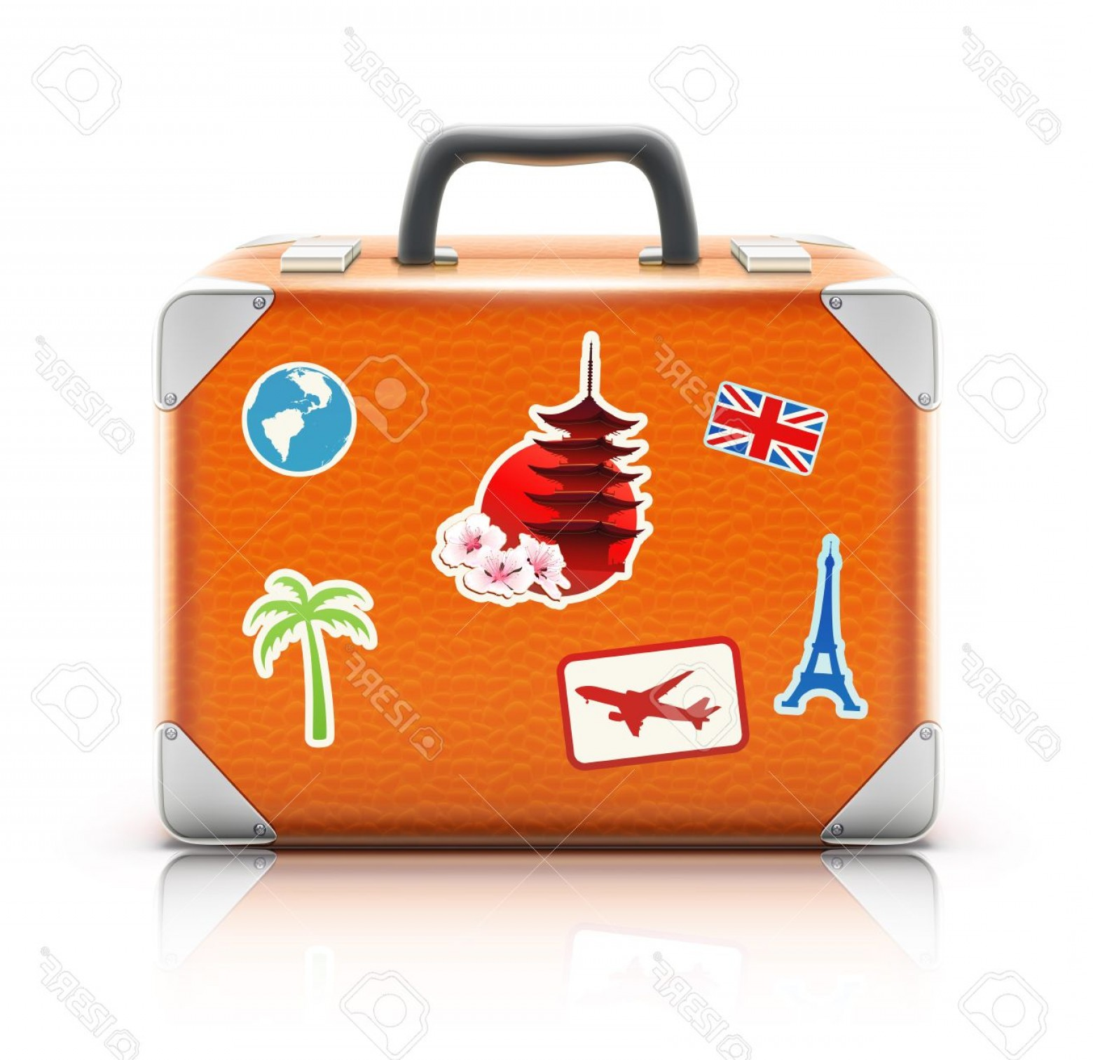 Vintage Luggage Vector: Photovector Illustration Of Vintage Suitcase With Funky Stickers Isolated On White Background