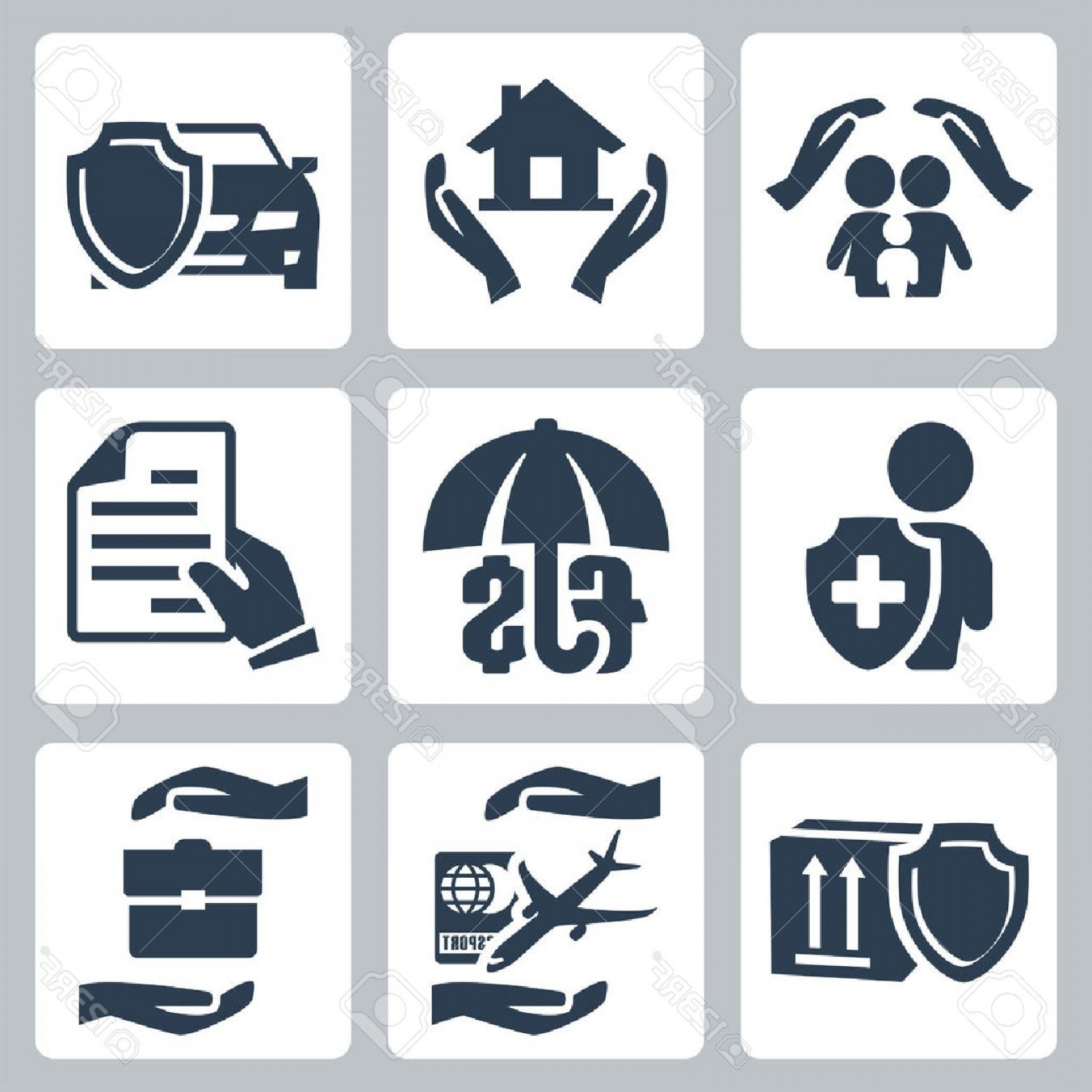 Vector Insurance: Photovector Insurance Icons Set Family Insurance Home Insurance Auto Insurance Life Insurance Deposit Ins