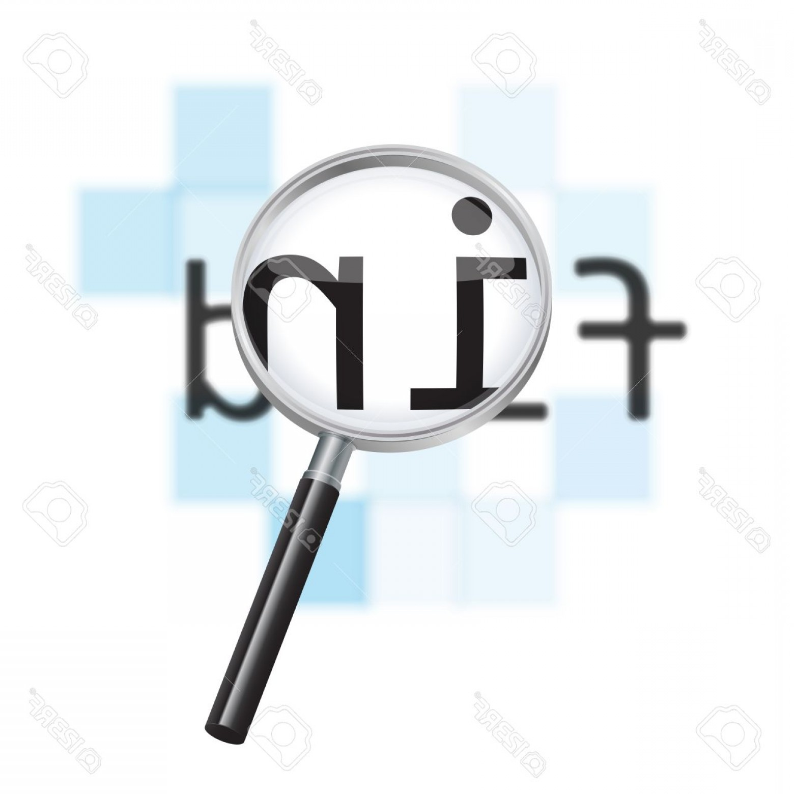 Find Vectors: Photovector Internet Search Conceptual Image Magnifying Glass Focusing On The Word Find Against A Defocus