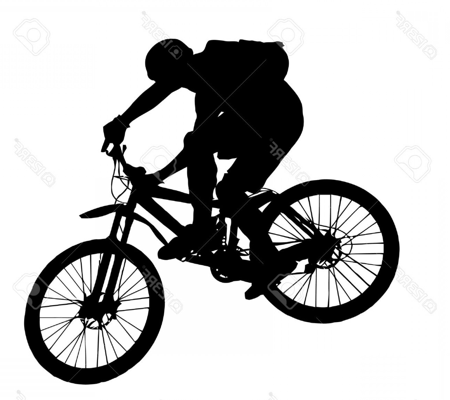Mountain Bike Silhouette Vector: Photovector Jump With A Mountain Bike Silhouette