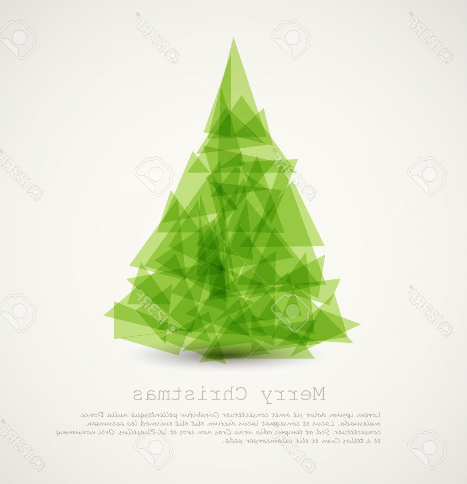 Less Christmas Tree Abstract Vector Background: Photovector Modern Card With Abstract Green Christmas Tree