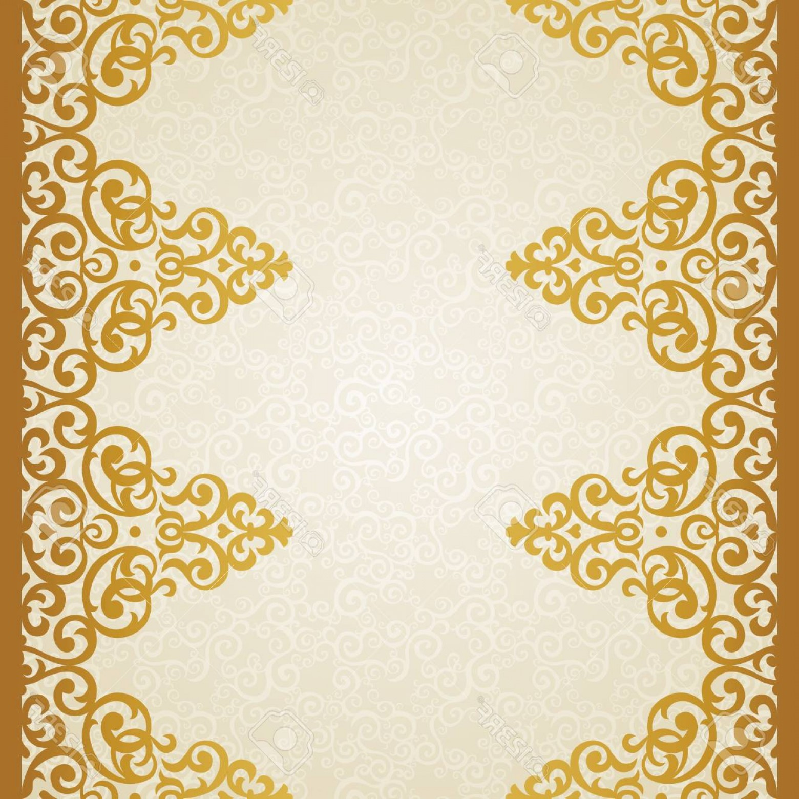 Gold Ornate Borders Vector: Photovector Ornate Border In Victorian Style Golden Floral Element For Design And Place For Text Ornament