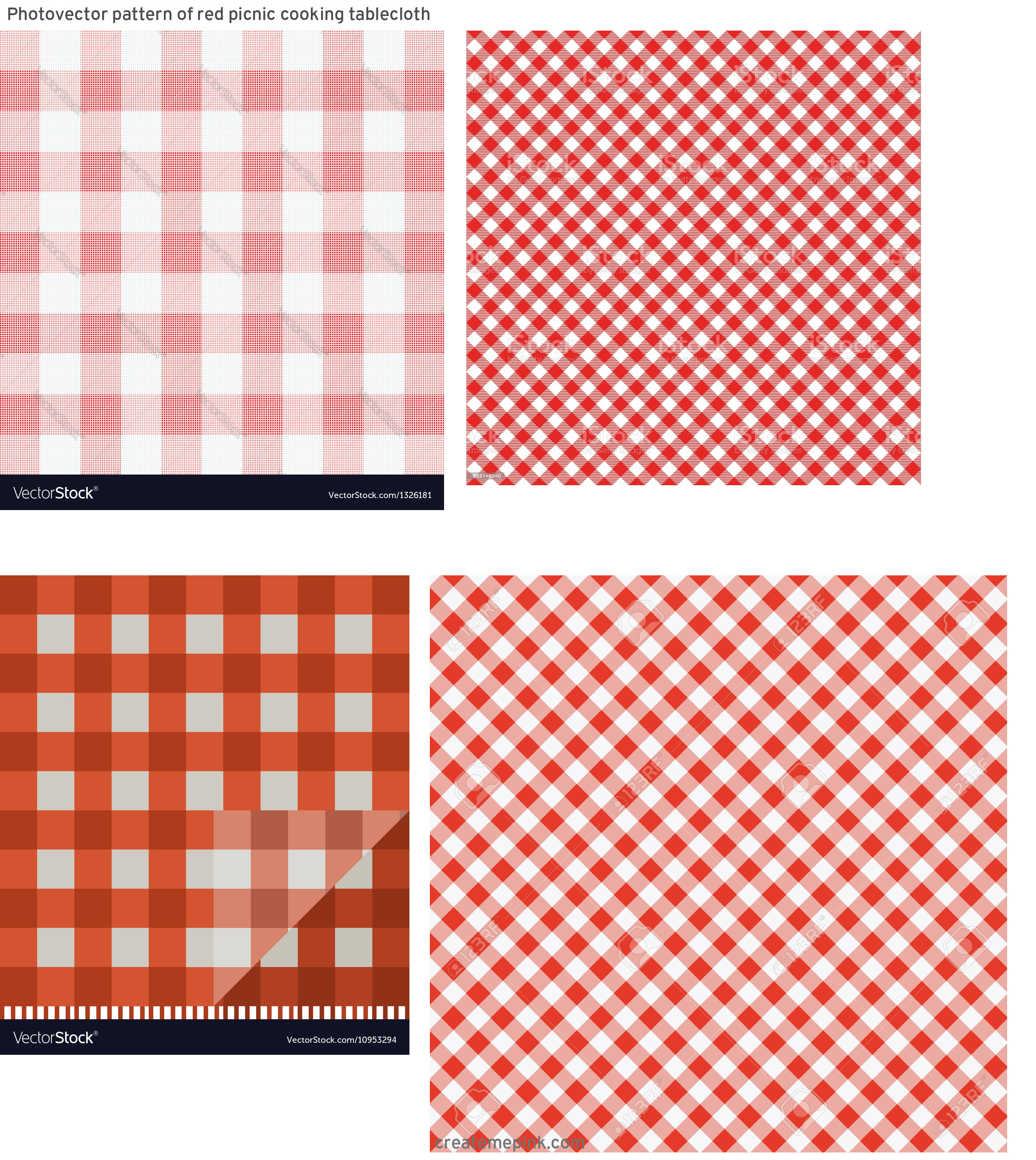 Picnic Cloth Vector: Photovector Pattern Of Red Picnic Cooking Tablecloth