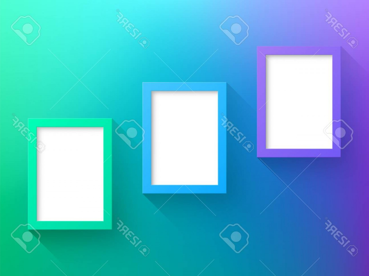 Purple Green And White Vector: Photovector Purple Green Frames Design With White Background