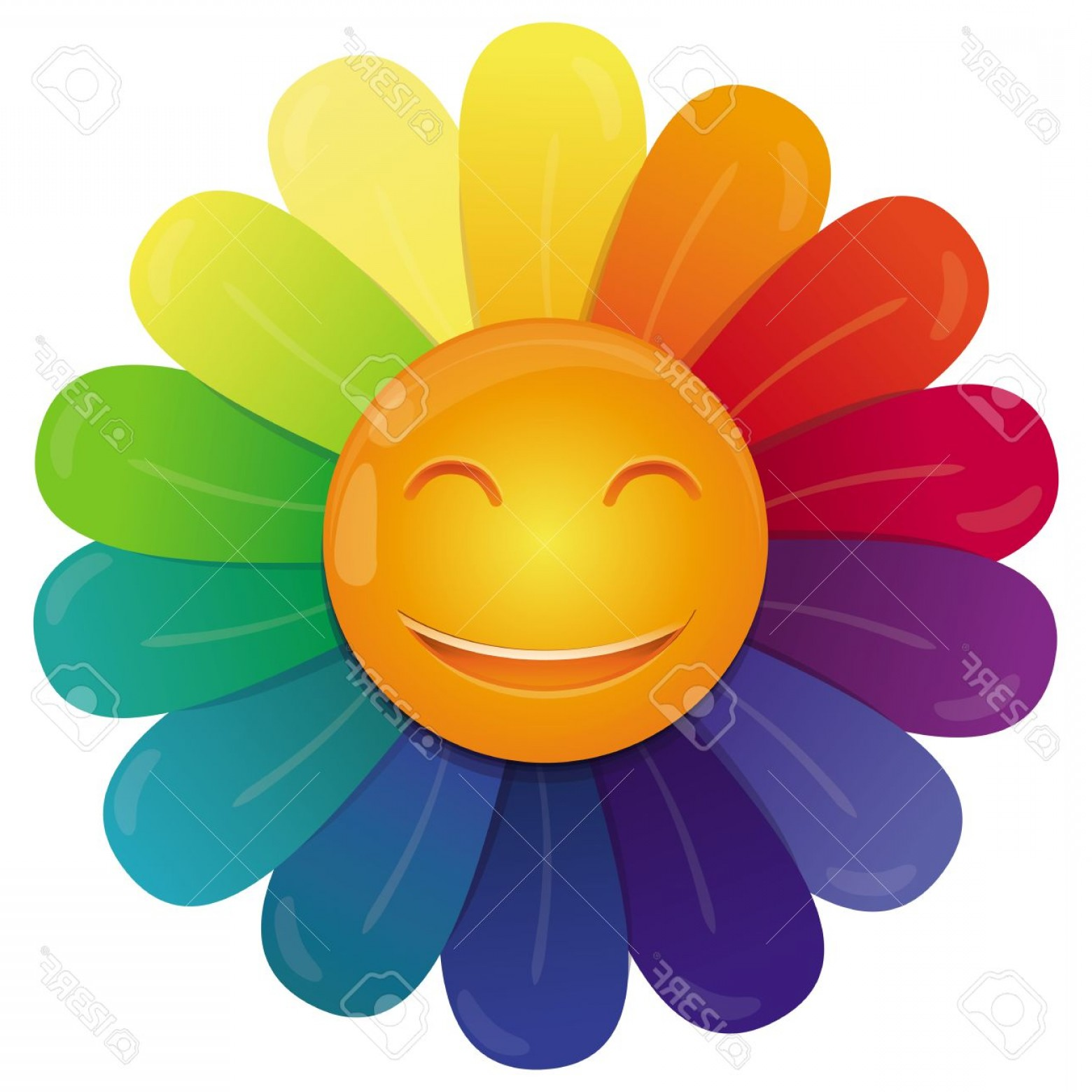 Rainbow Face Emoji Vector: Photovector Rainbow Flower With Multi Colored Petals And Funny Face