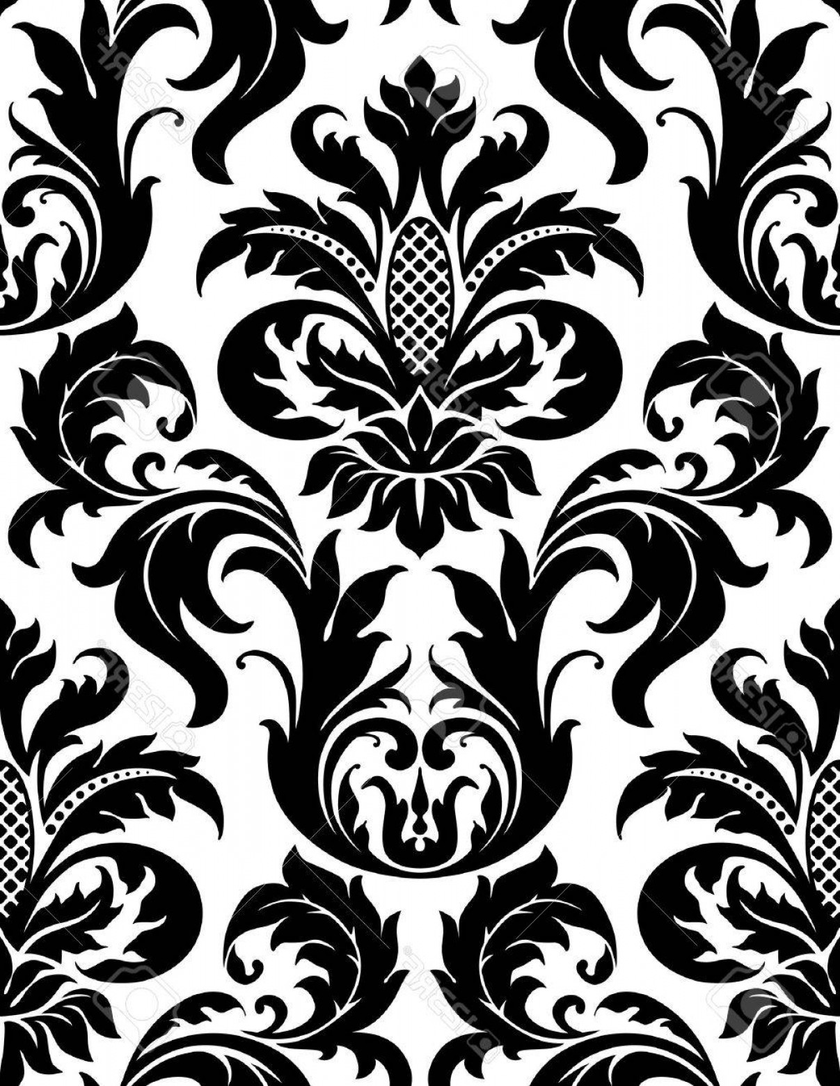 Damask Background Vector Art: Photovector Seamless Floral Damask Pattern For Vintage Abstract Background
