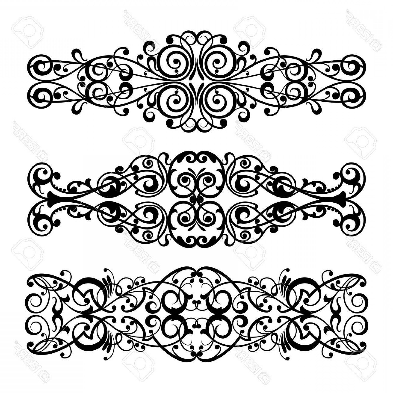 Vector Ornament Sets: Photovector Set Calligraphic Element And Page Decoration