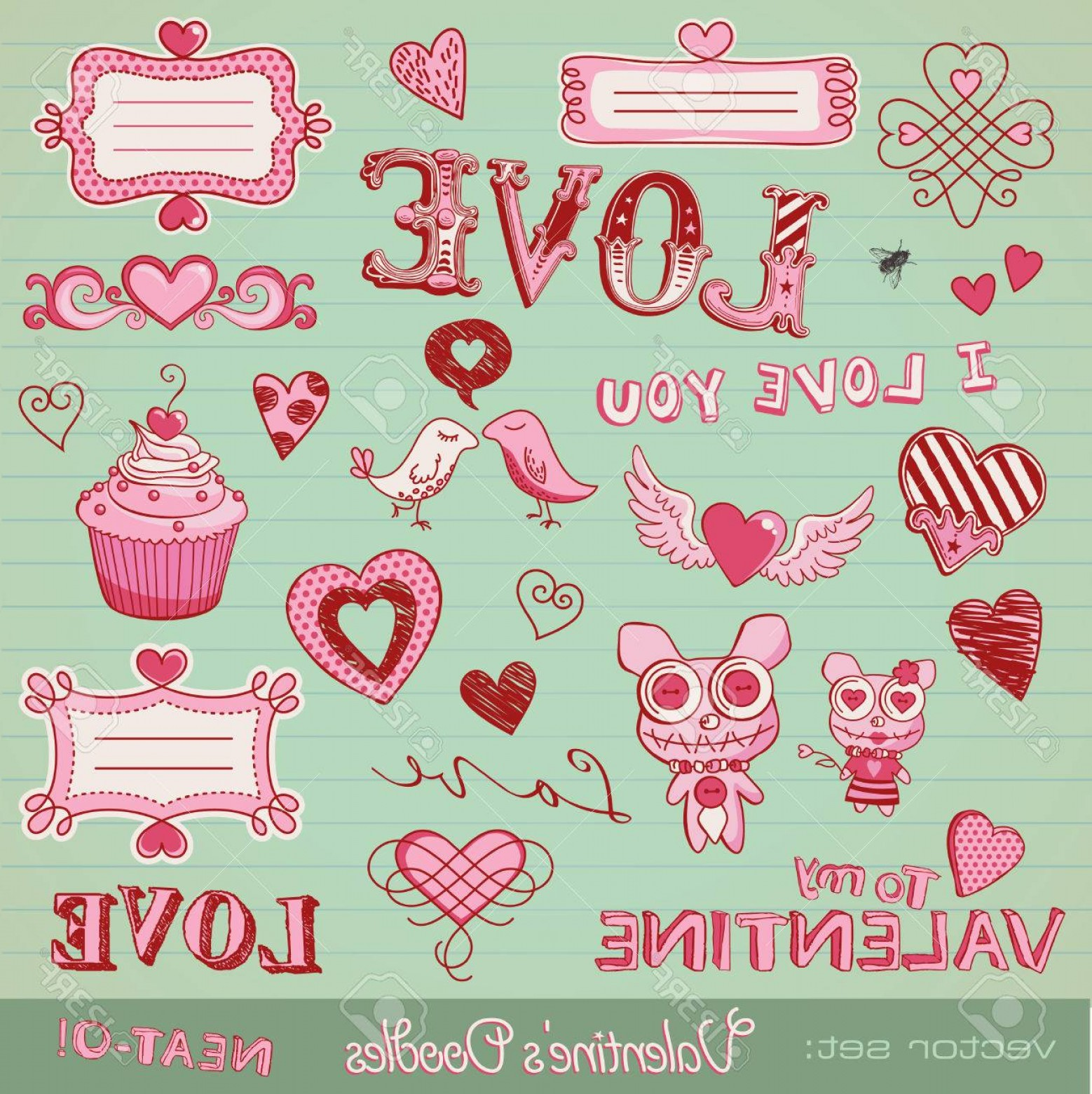 Cute Design Elements Vector Set: Photovector Set Valentine S Doodles Lots Of Cute Design Elements