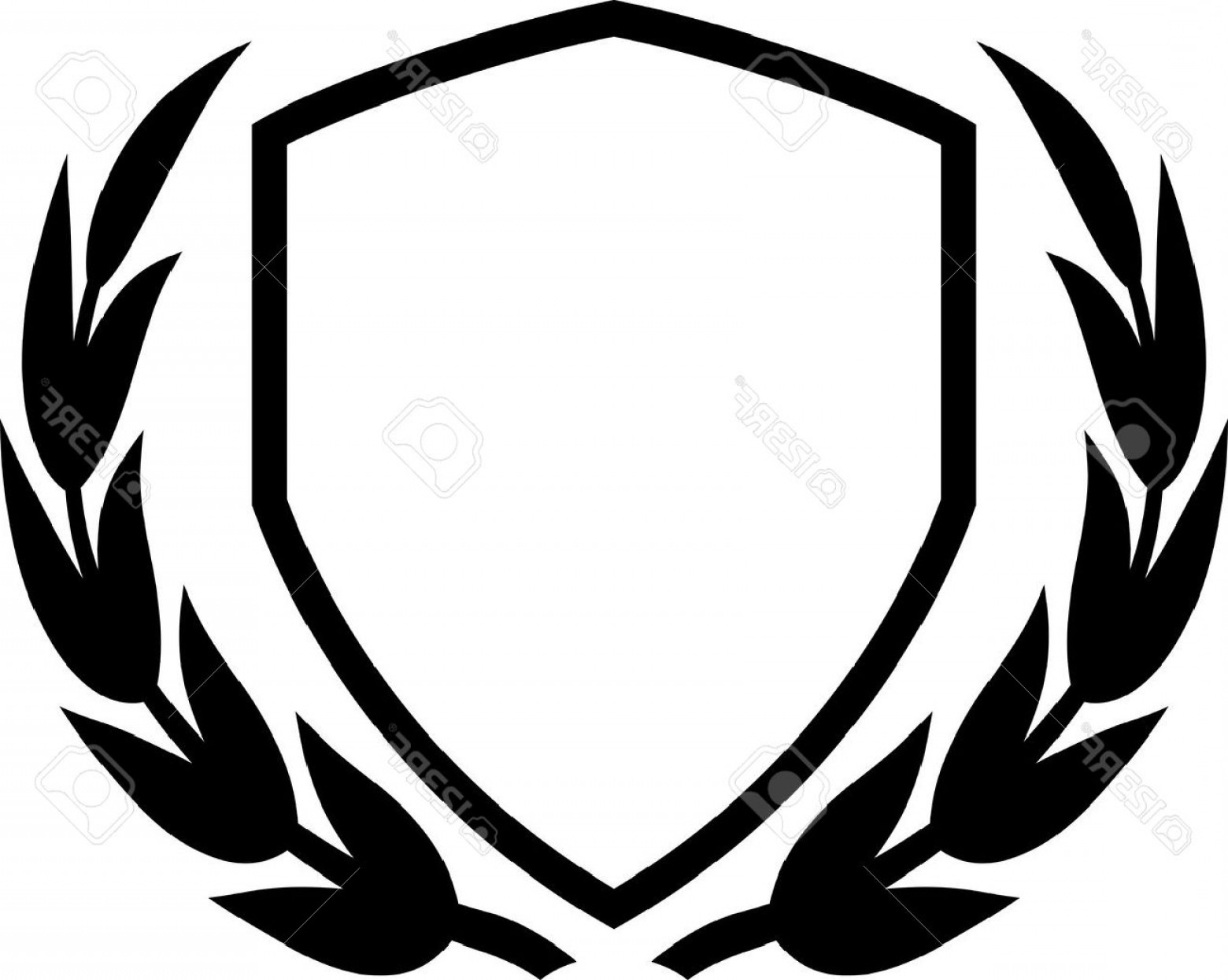 White Shield Vector: Photovector Shield And Laurel Wreath Isolated On White