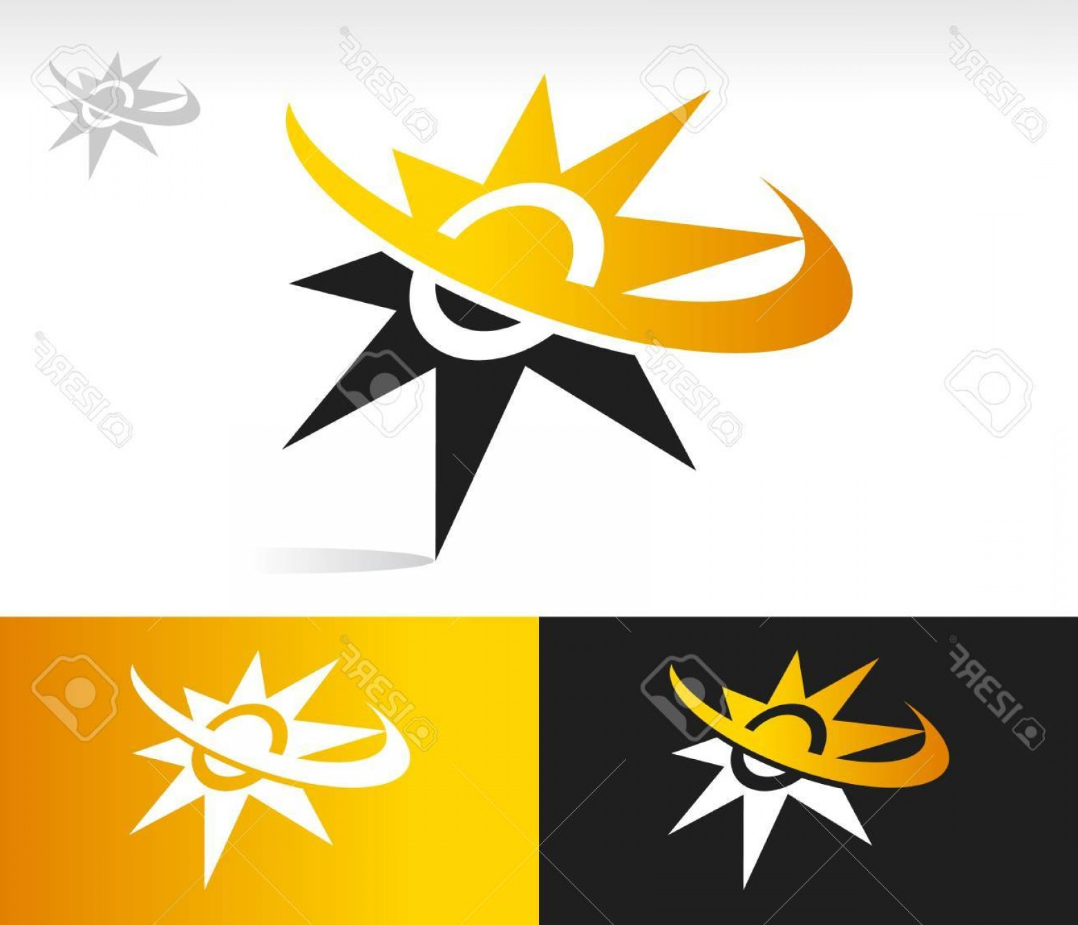 Christian Vector Sun: Photovector Sun Icon With Swoosh Graphic Element