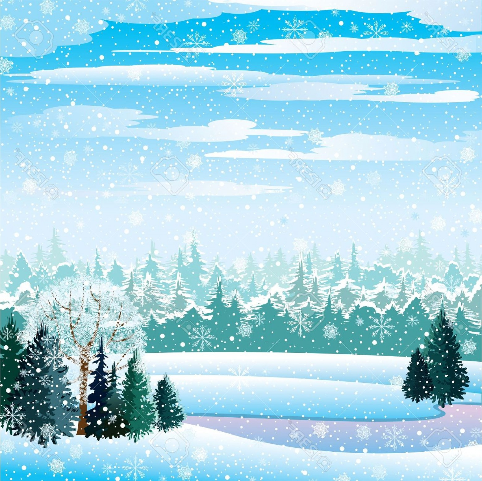 Free Winter Vector: Photovector Winter Landscape With Frozen Lake Forest And Snowfall