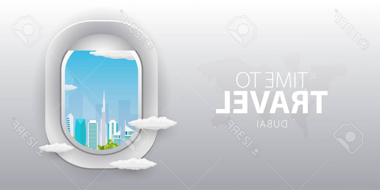Amazing Window Vector: Photoview From Airplane Flight Window Dubai Flat Web Vector Banner