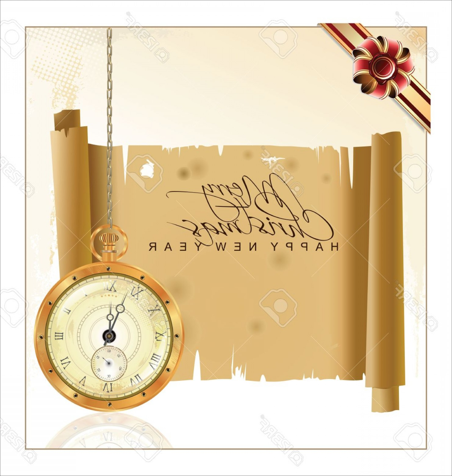 Old Floor Clock Vector: Photovintage Christmas Background With Pocket Watch And Old Paper