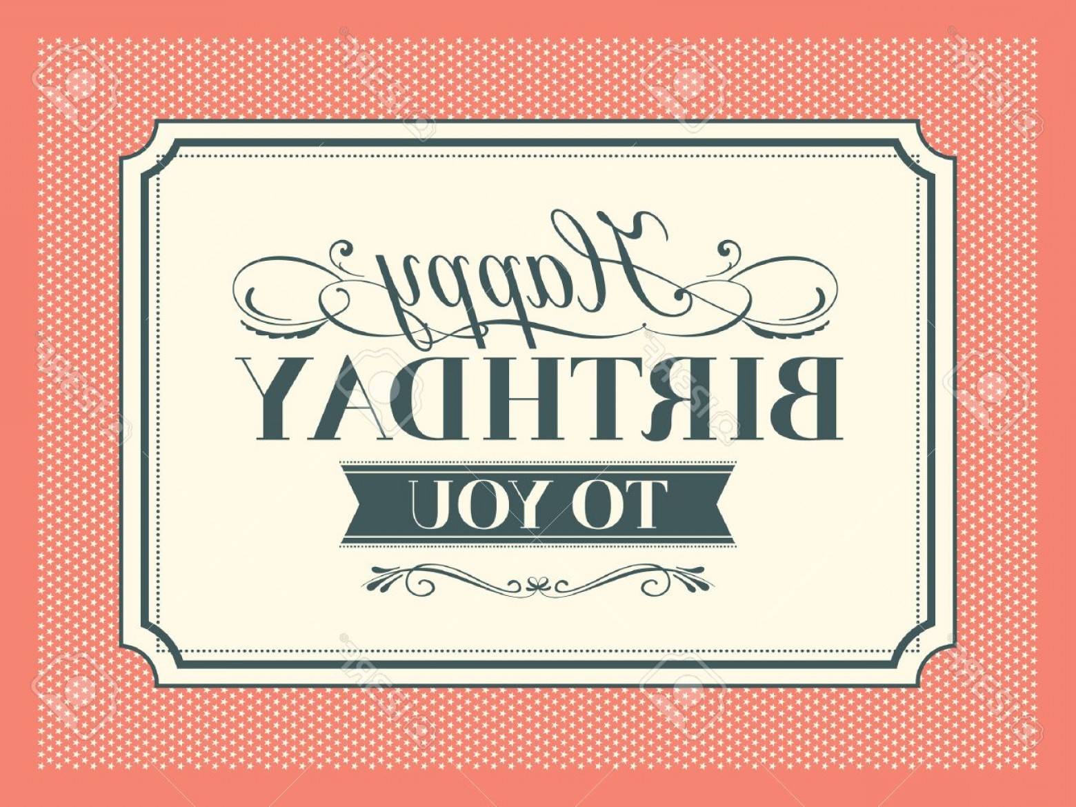 Birthday Card Vector Frame Designs: Photovintage Happy Birthday Card Frame Design