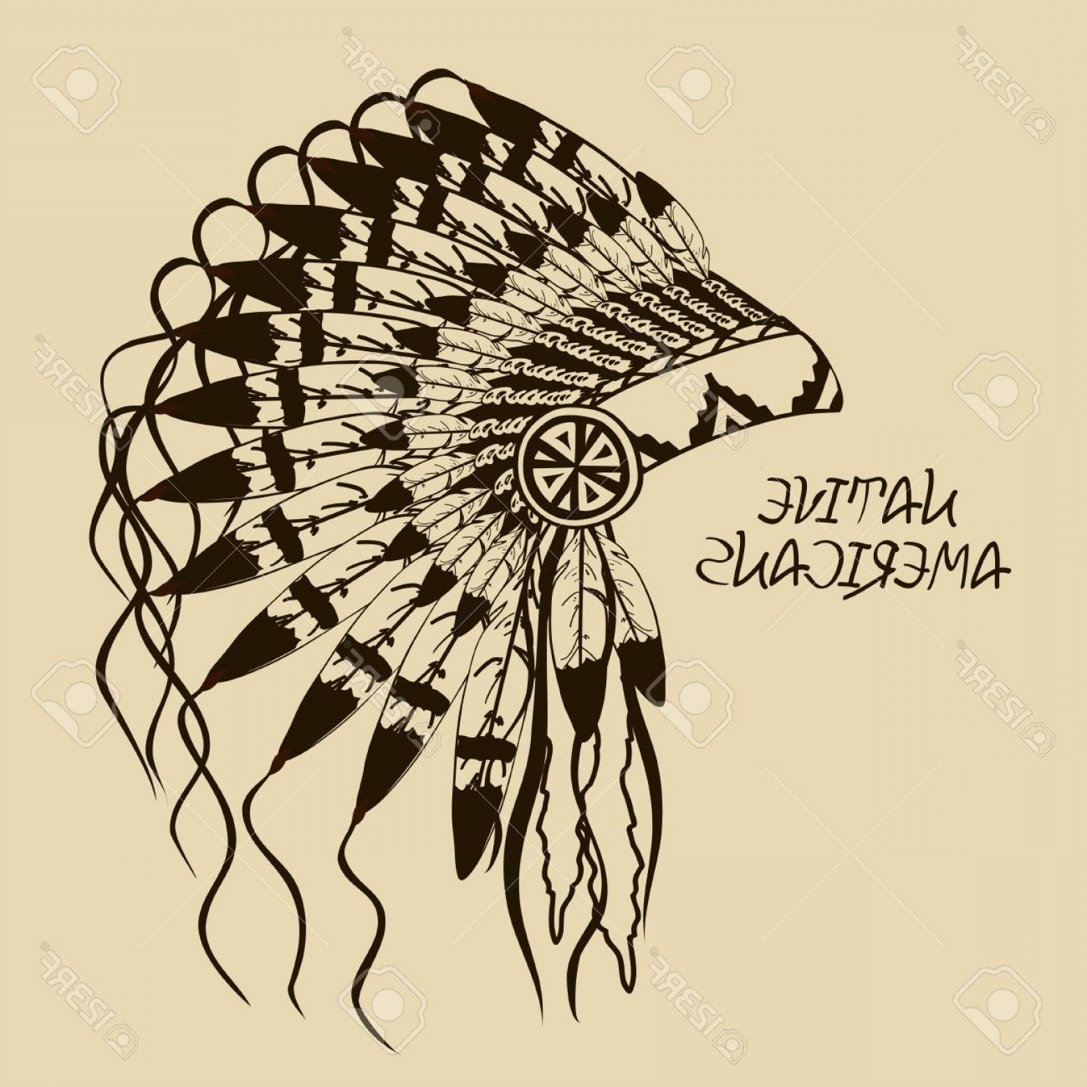 American Indian Chief Vector: Photovintage Illustration With Native American Indian Chief Headdress