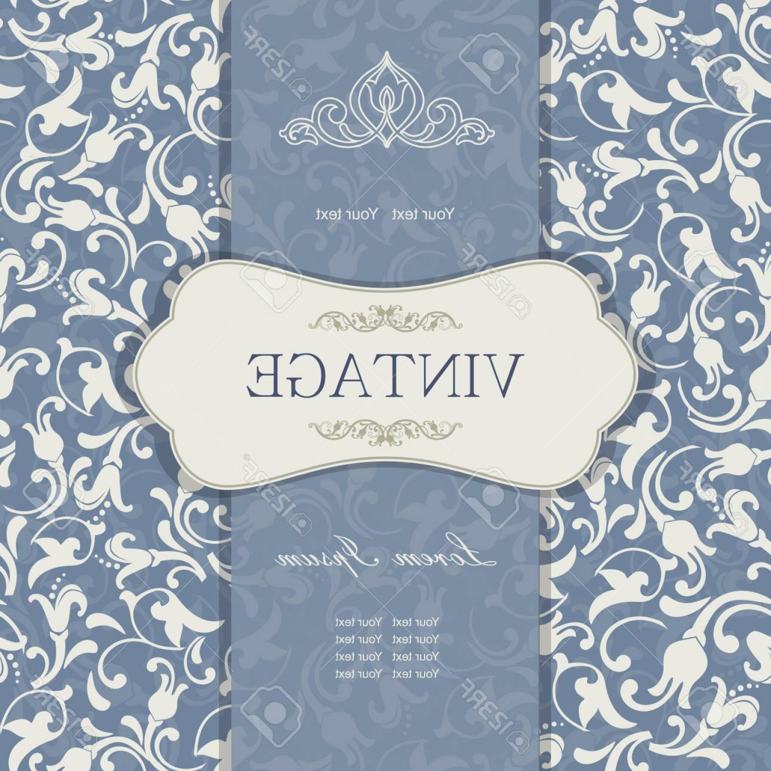 Aqua Victorian Vectors: Photovintage Invitation Card With Victorian Ornaments