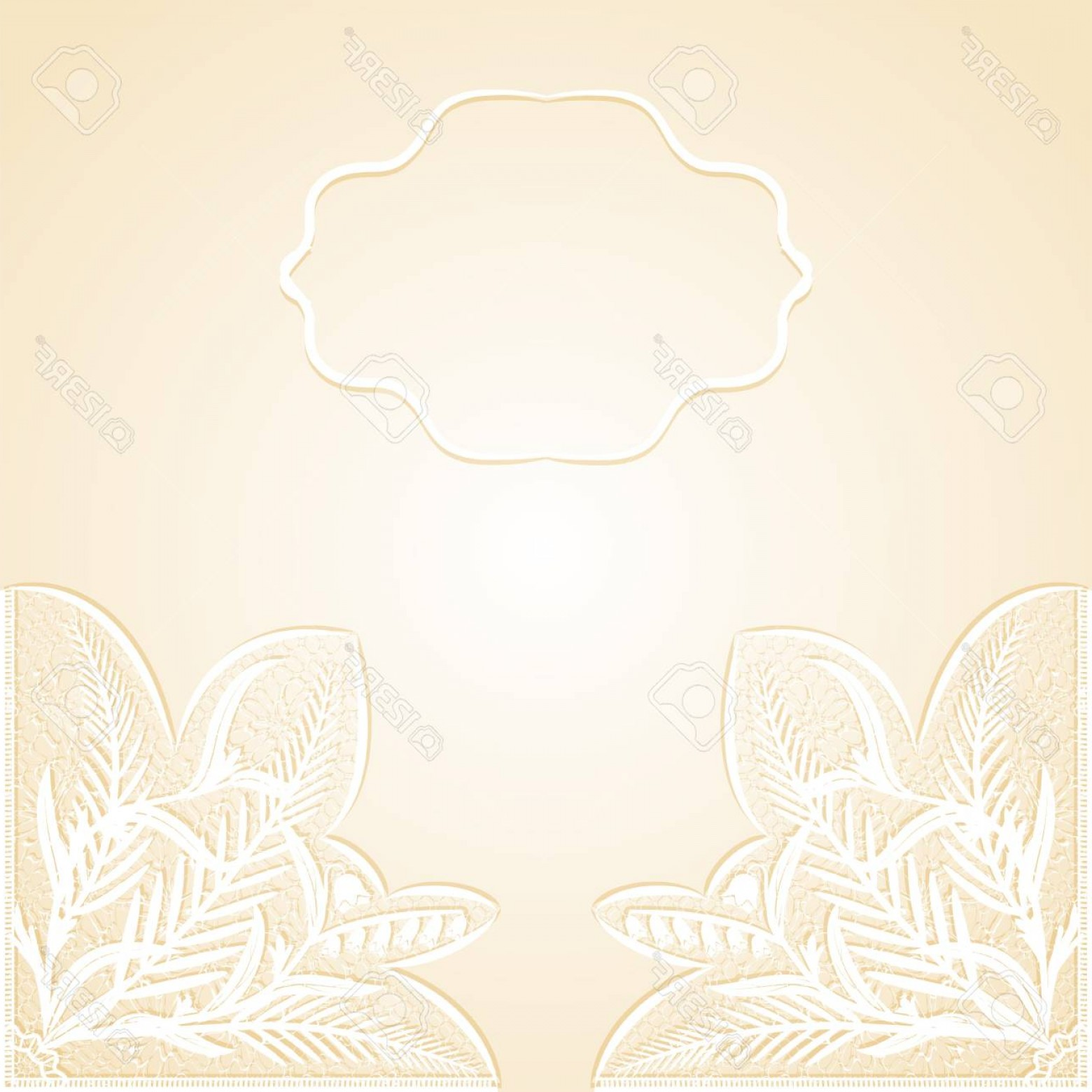White Lace Vector: Photowedding Invitation With Delicate White Lace Vector Illustration