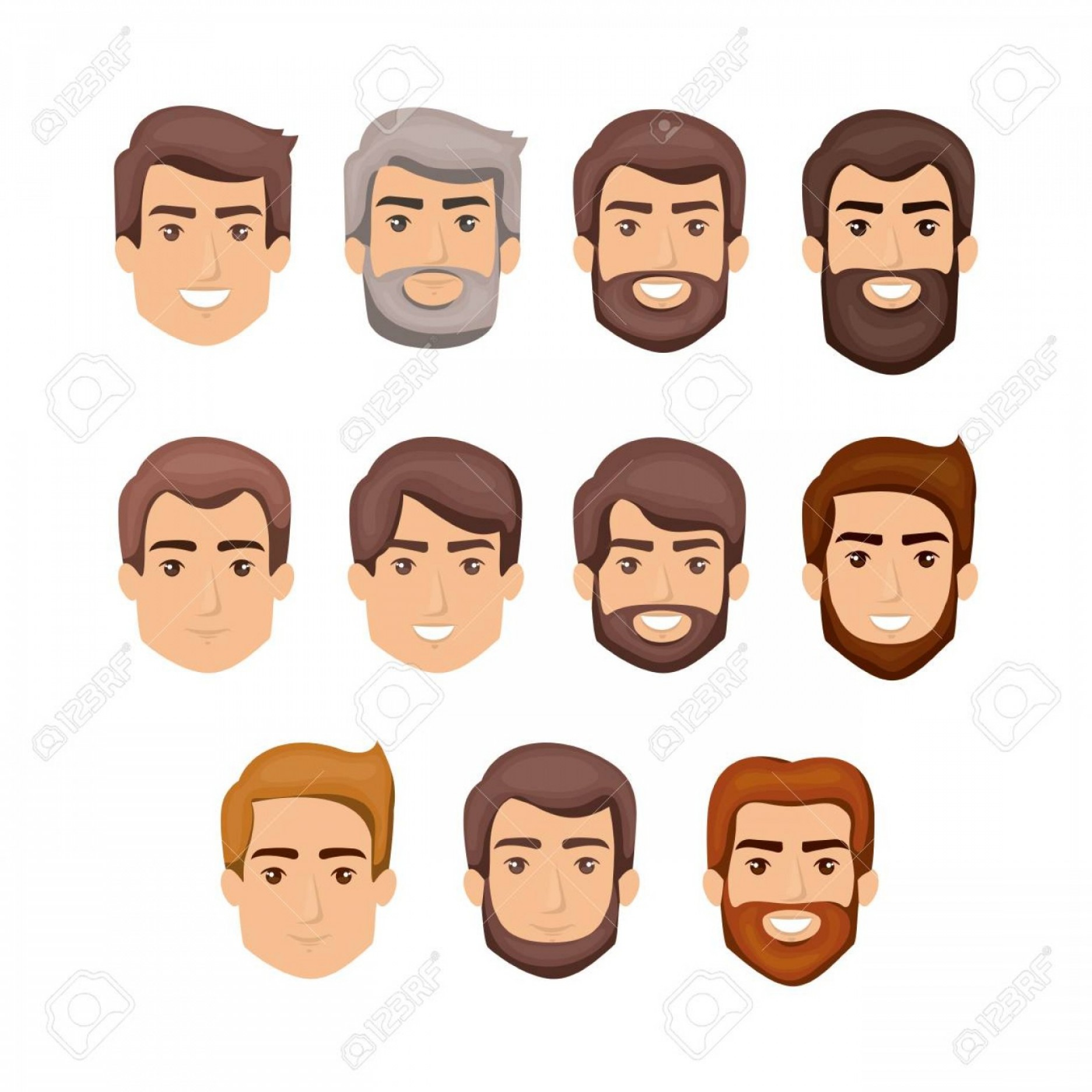 Vector Male Fade Hair: Photowhite Background With Male Faces With Hair And Beard Styles Vector Illustration