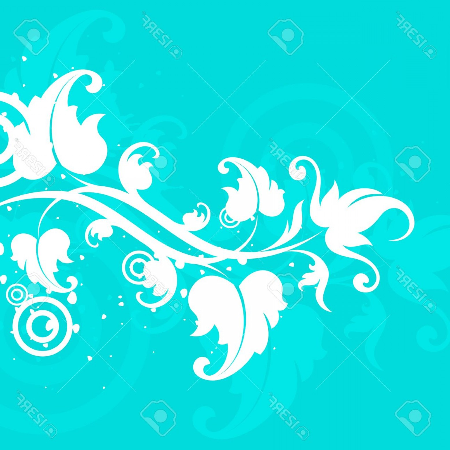 Turquoise Flower Vector: Photowhite Flower On A Turquoise Background