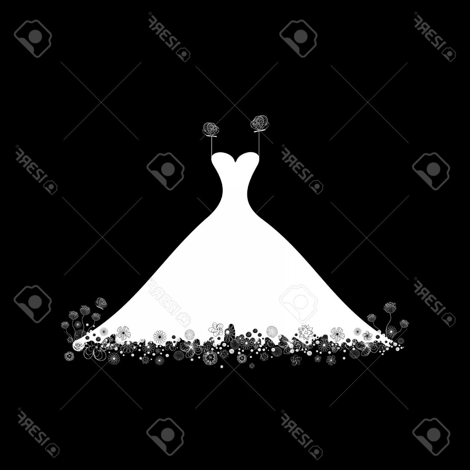 Vector Images Of Black And White Dresses: Photowhite Wedding Dress On A Black Background