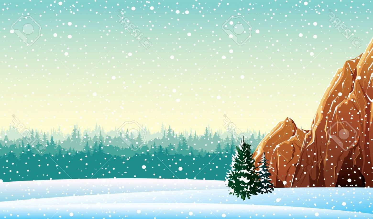 Free Winter Vector: Photowinter Vector Landscape With Rock And Forest
