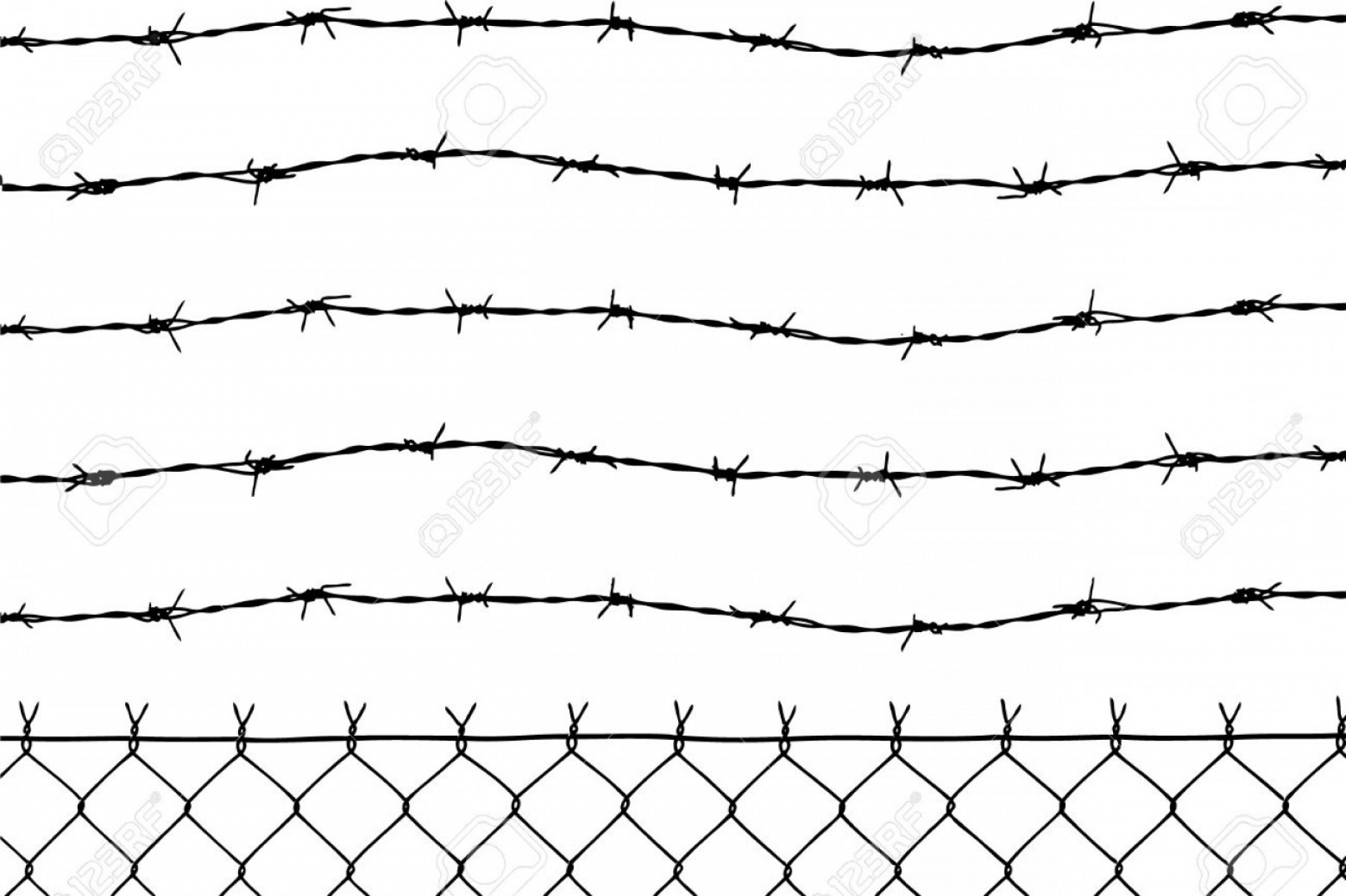 Fence Post Barbed Wire Vector Clip Art: Photowired Fence With Five Barbed Wires