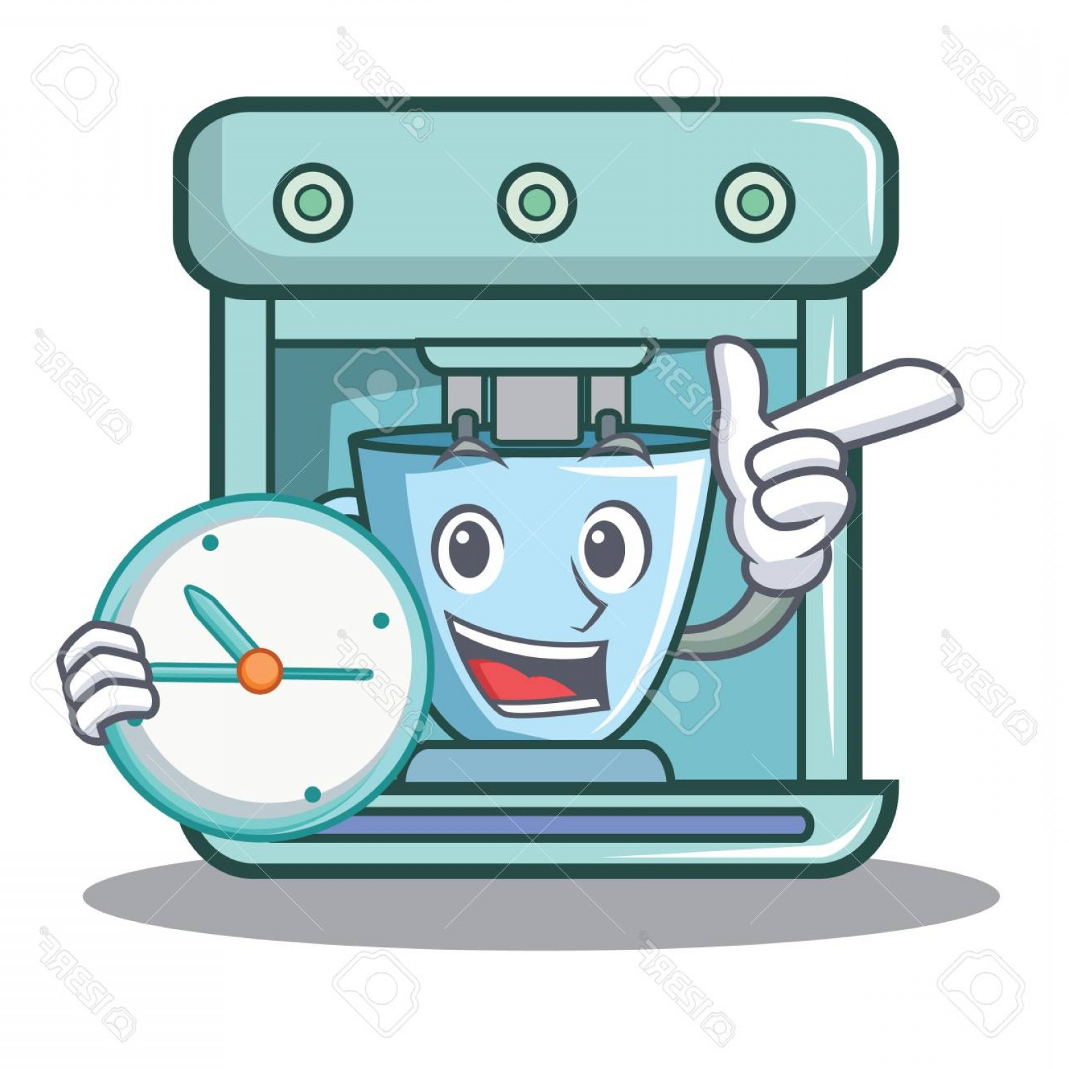 Vector Maker: Photowith Clock Coffee Maker Character Cartoon Vector Illustration