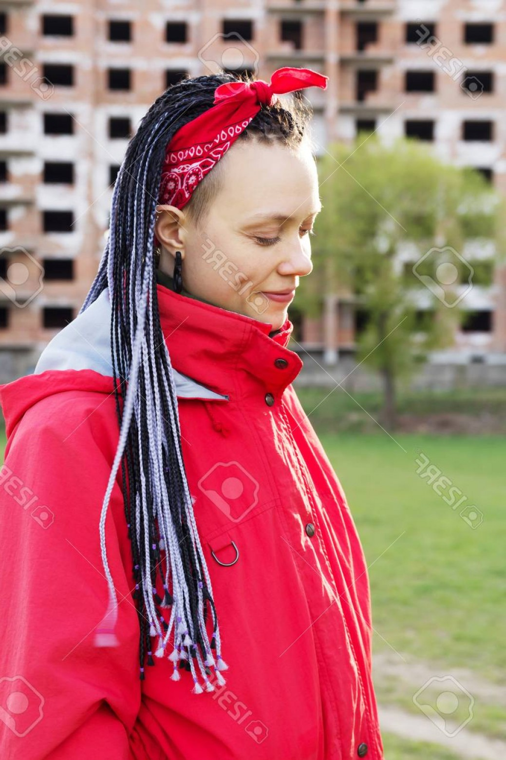 Extencion Braids Vector: Photowomen Hairstyle With Hair Extensions Braided In Thin Plaits And Afrobraids