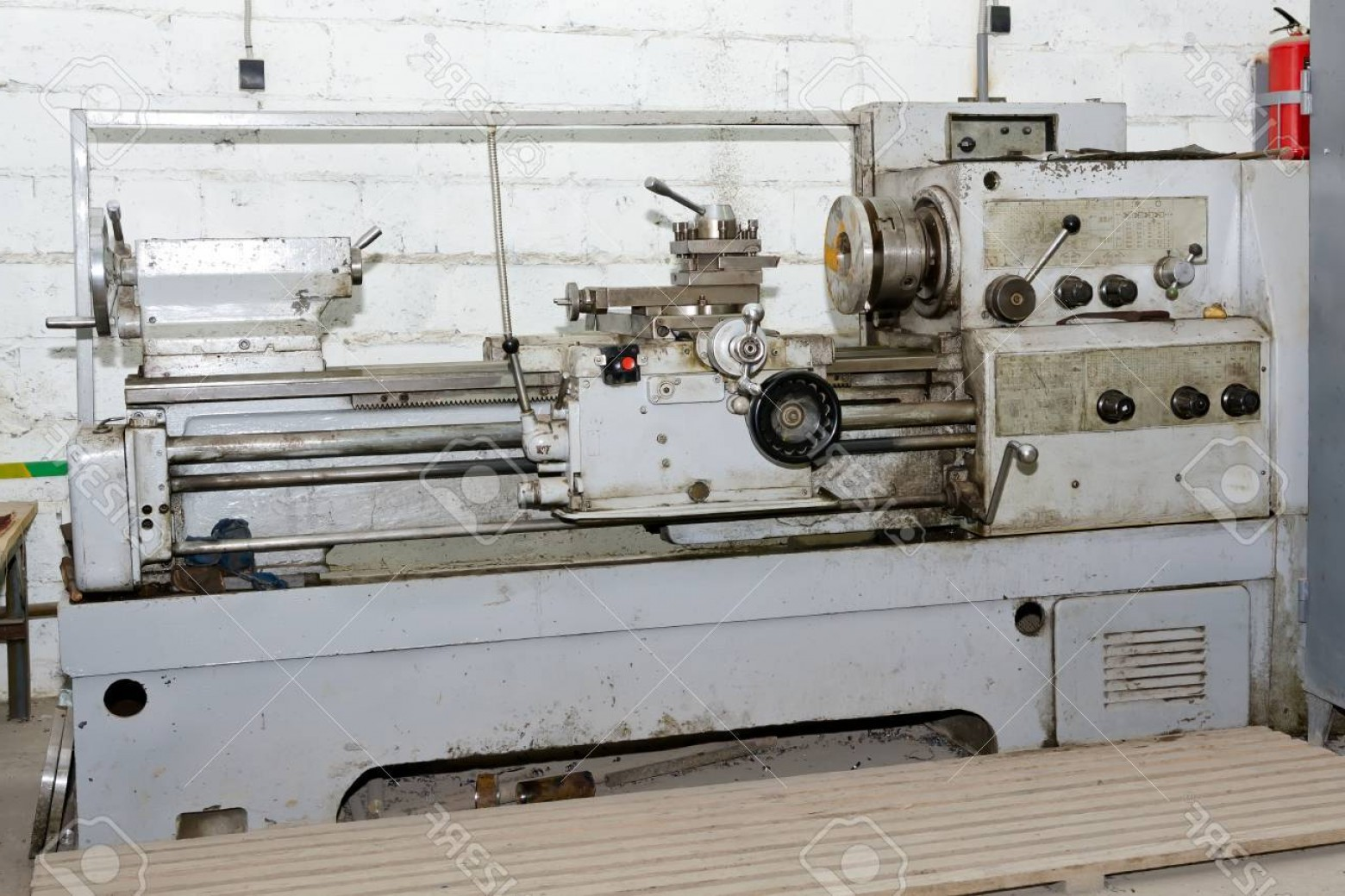 Hand Lathe Vector: Photoworkplace Turners Are Equipped With Old Soviet Lathe