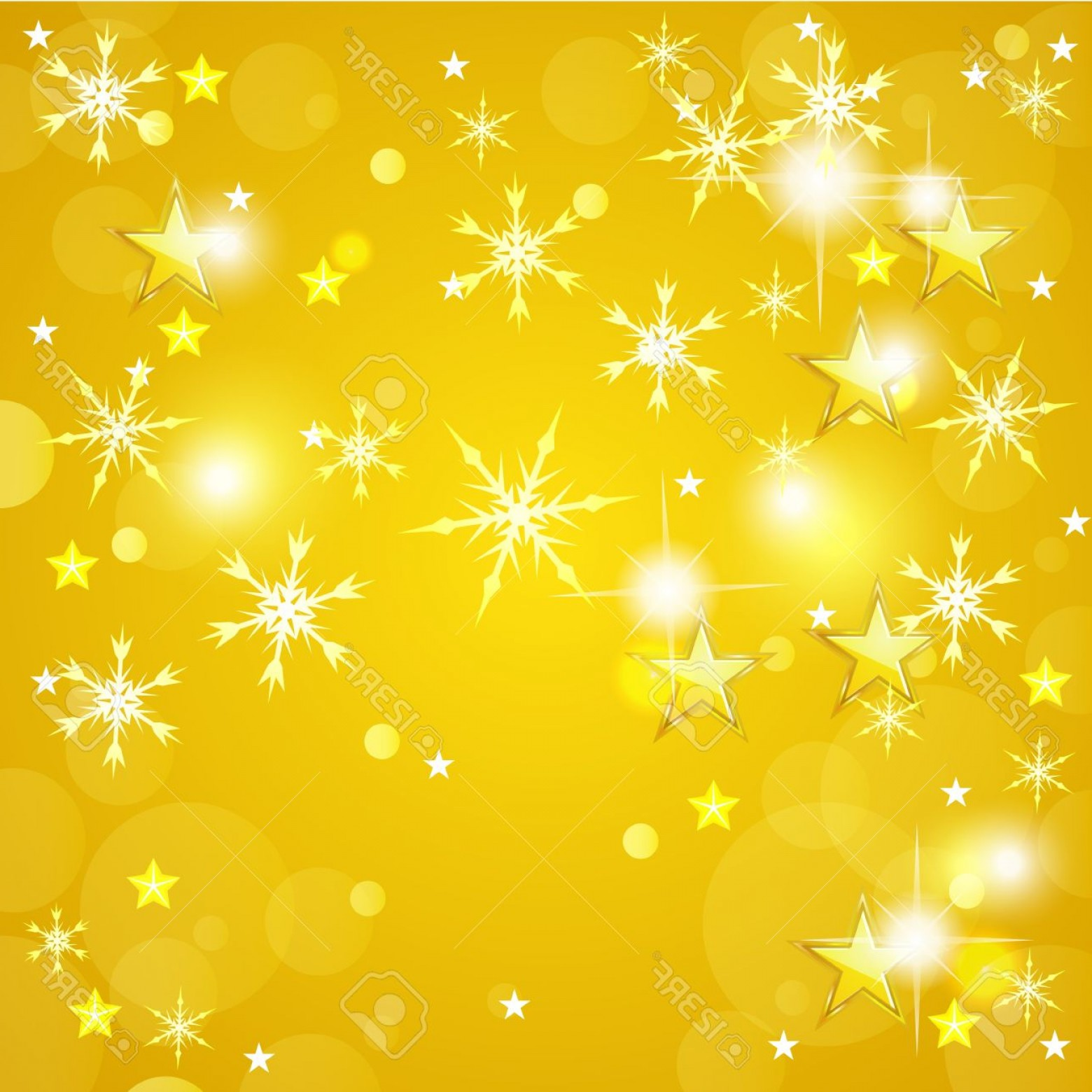Stars Yellow Christmas Vector: Photoyellow Christmas Background With Golden Stars And Snowflakes