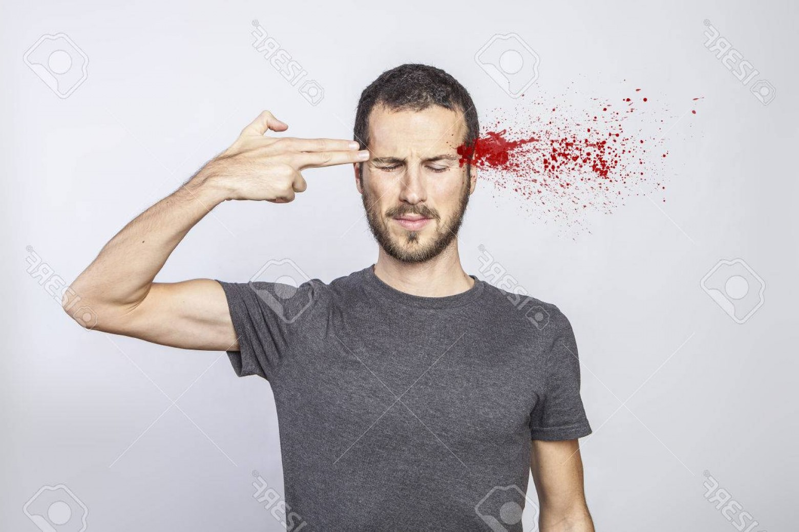 Finger Gun To Head Vector: Photoyoung Man Committing Suicide With Finger Gun Gesture